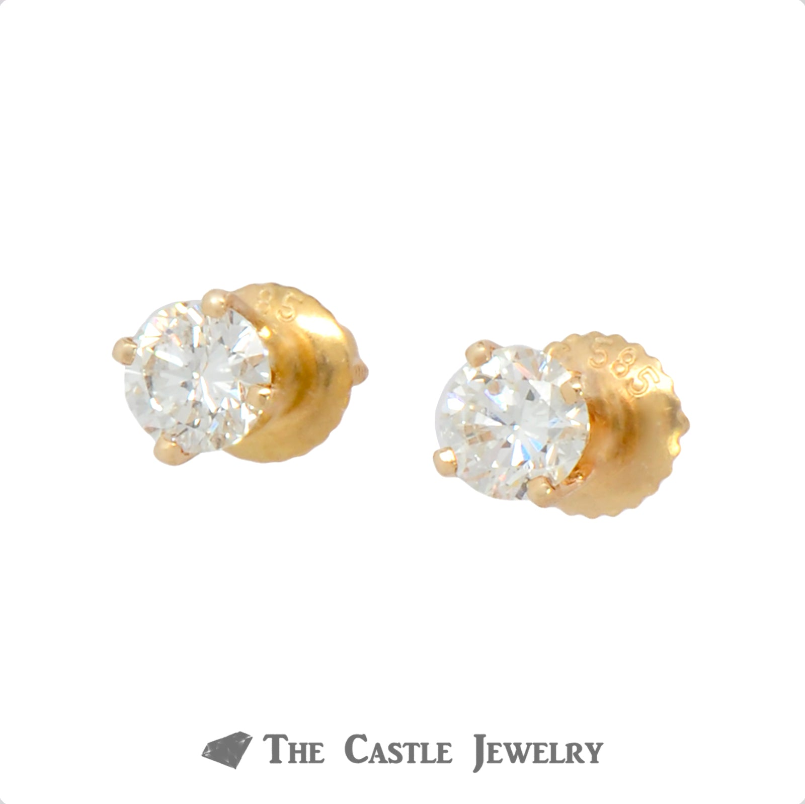 .75cttw Round Brilliant Cut Diamond Studs in 14k Yellow Gold-1