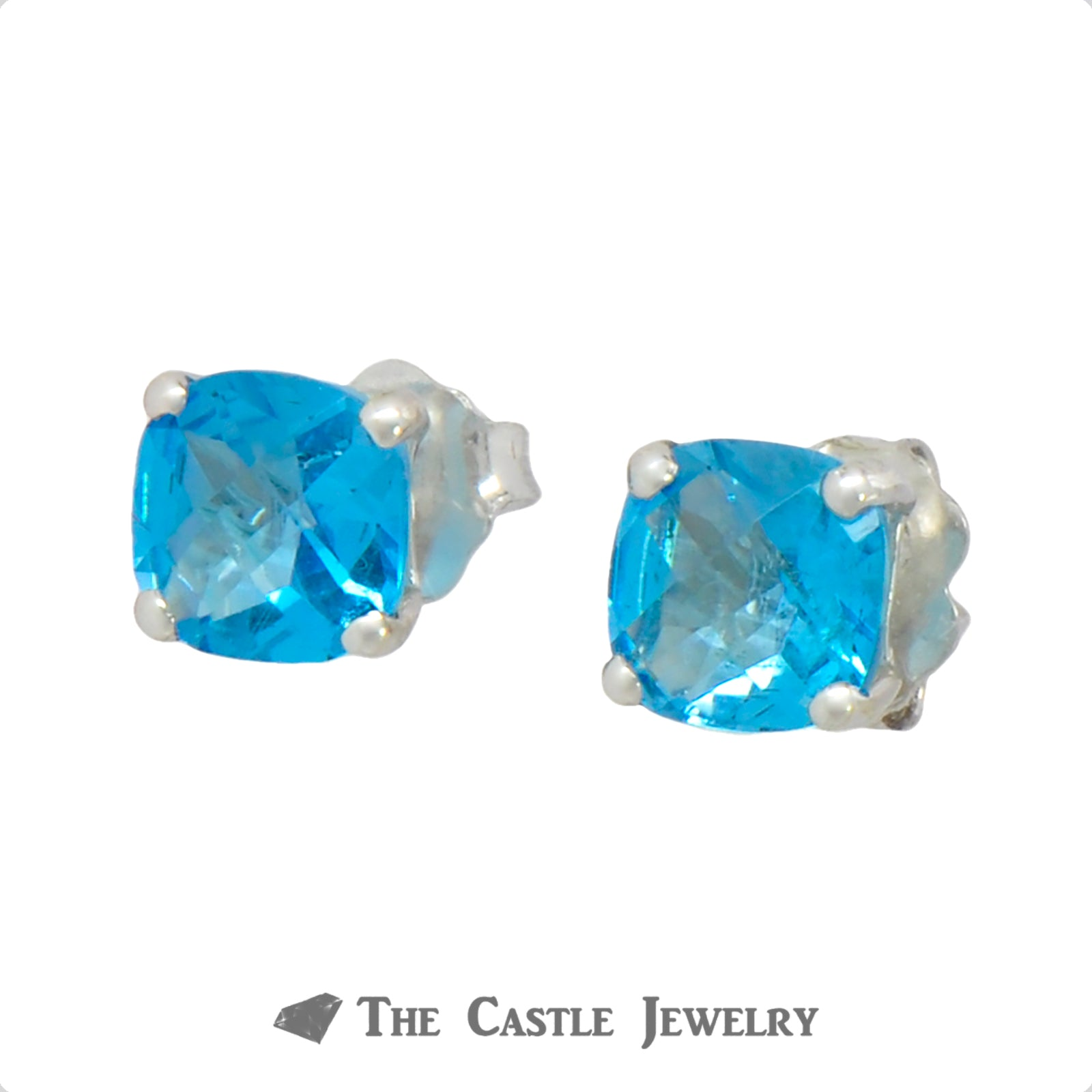 Cushion Cut Blue Topaz Studs in 14k White Gold-1