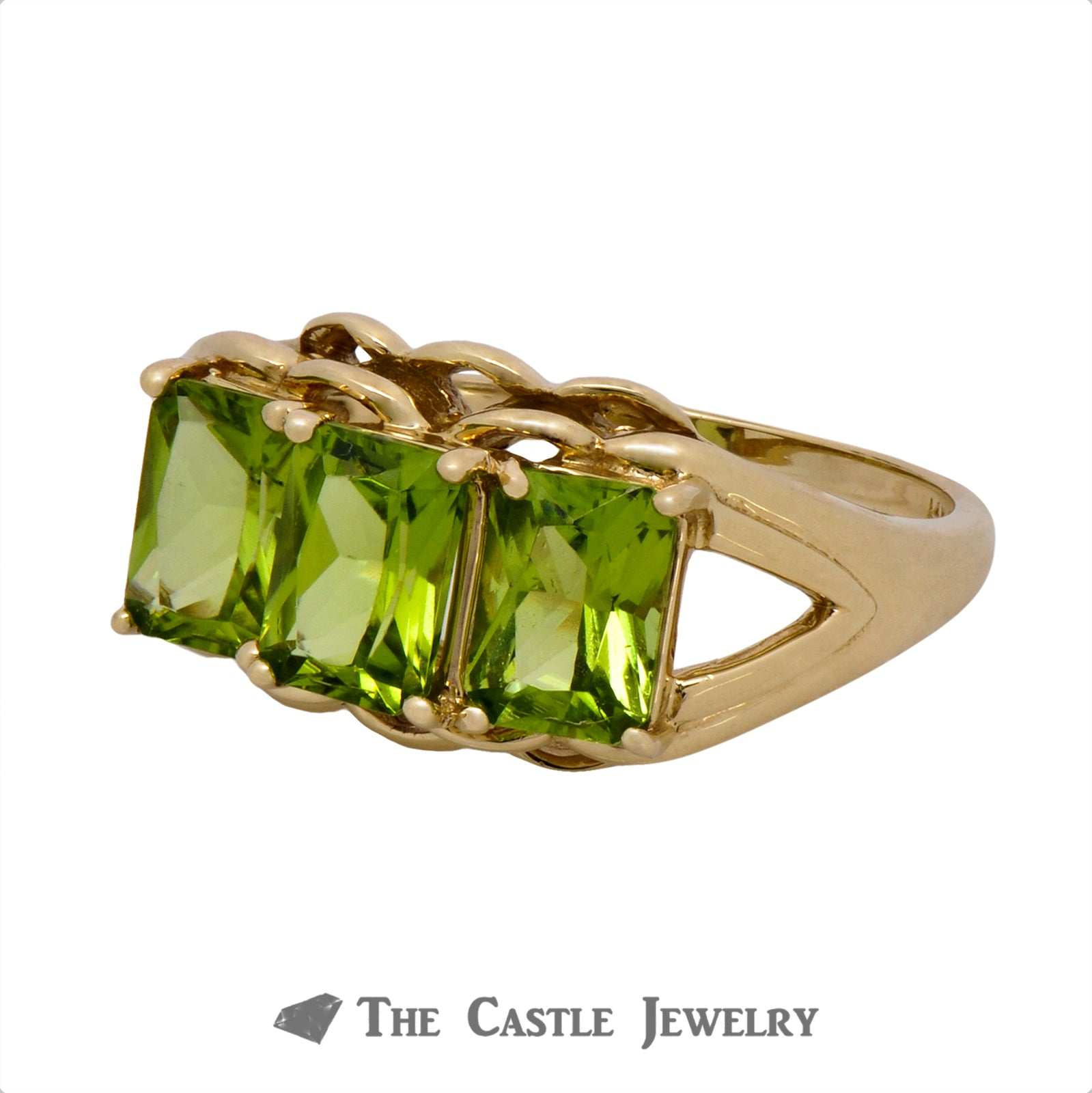 Lovely Three Stone Emerald Cut Peridot Ring Crafted in 14k Yellow Gold-2