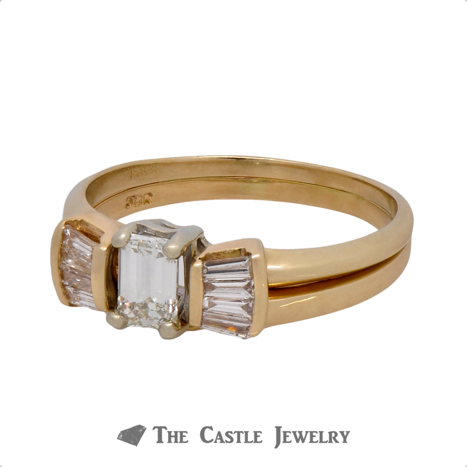 Emerald Cut Bridal Set with Baguette Accents Crafted in 14k Yellow Gold-2