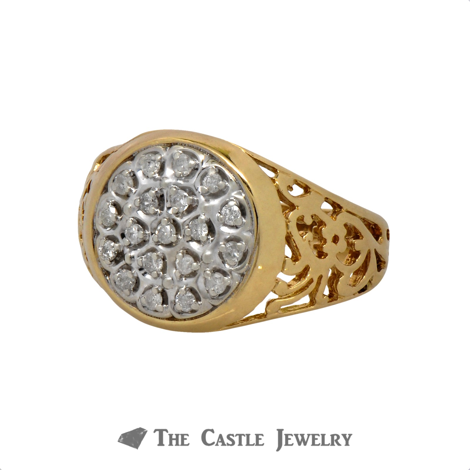 .25cttw Diamond Kentucky Cluster Ring in 10k Yellow Gold-2