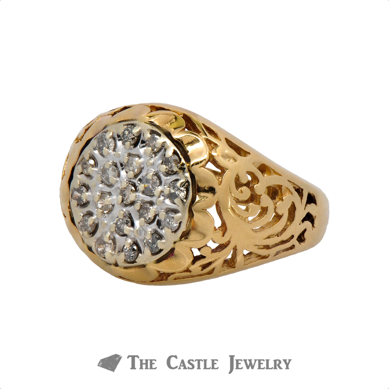 19 Diamond Kentucky Cluster Ring in 10K Yellow Gold-2
