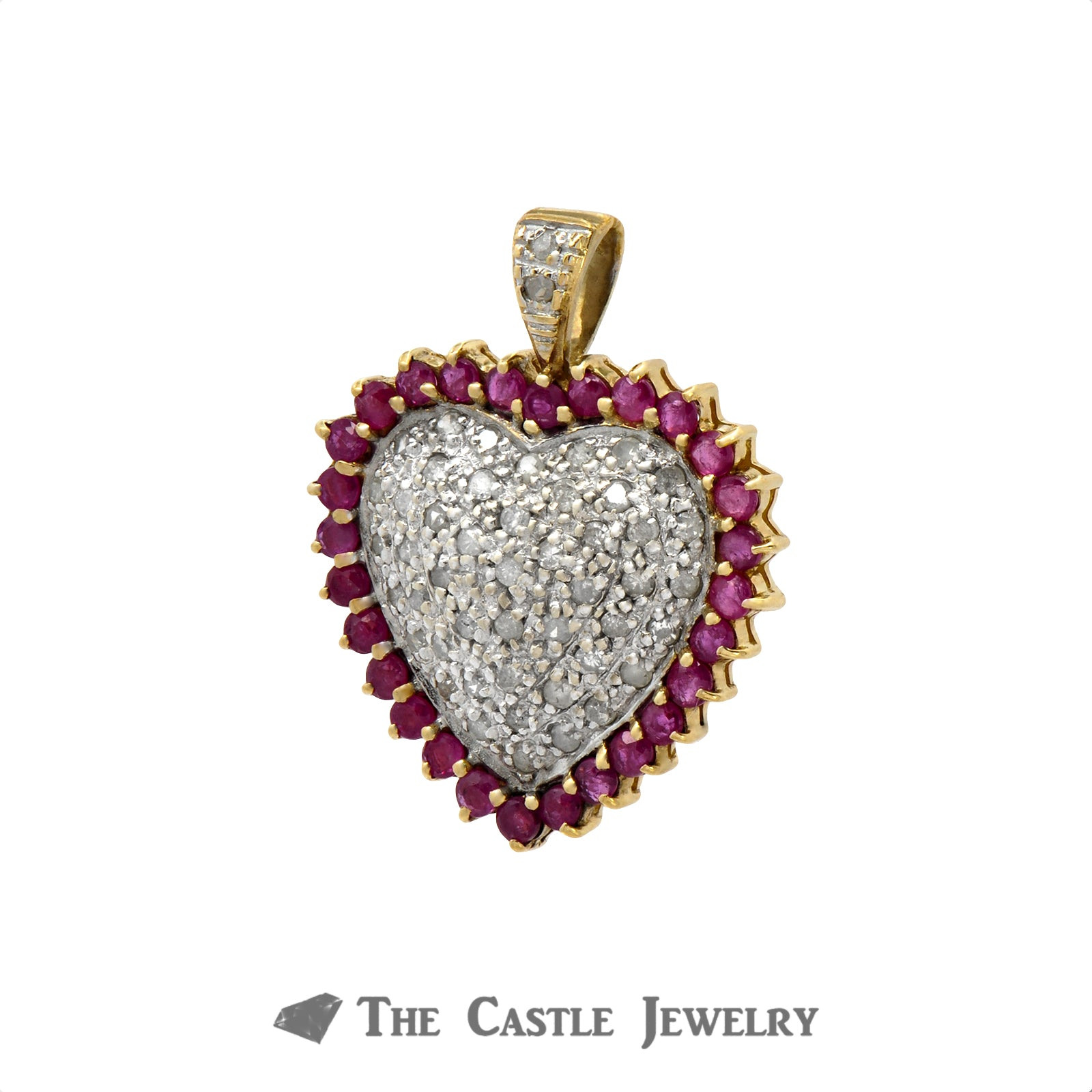 Ruby and .50cttw Diamond Cluster Heart Shaped Pendant in 10k Yellow Gold-1