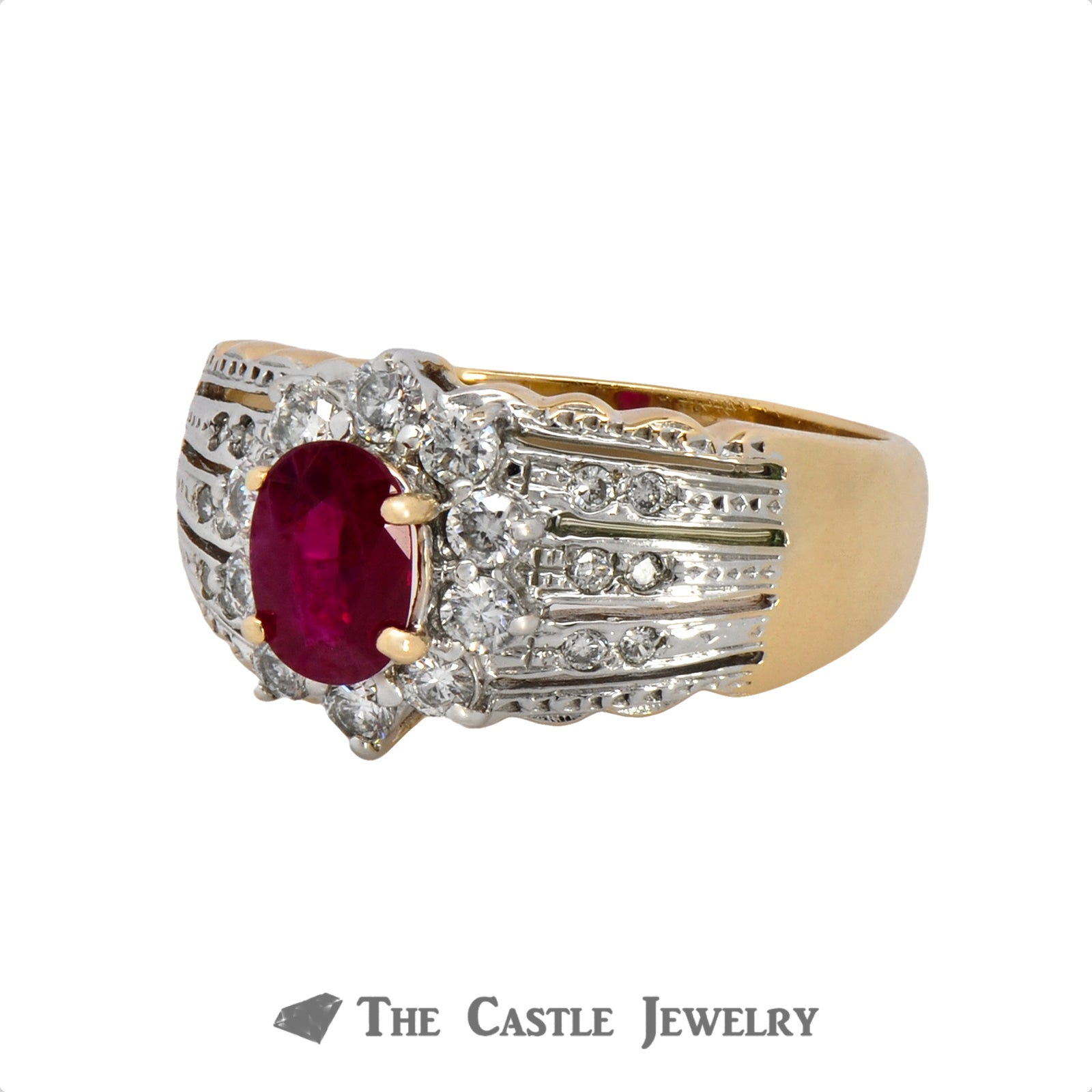 Le Vian Oval Ruby Ring with .50cttw Diamond Halo & Accents in 14k Yellow Gold-3