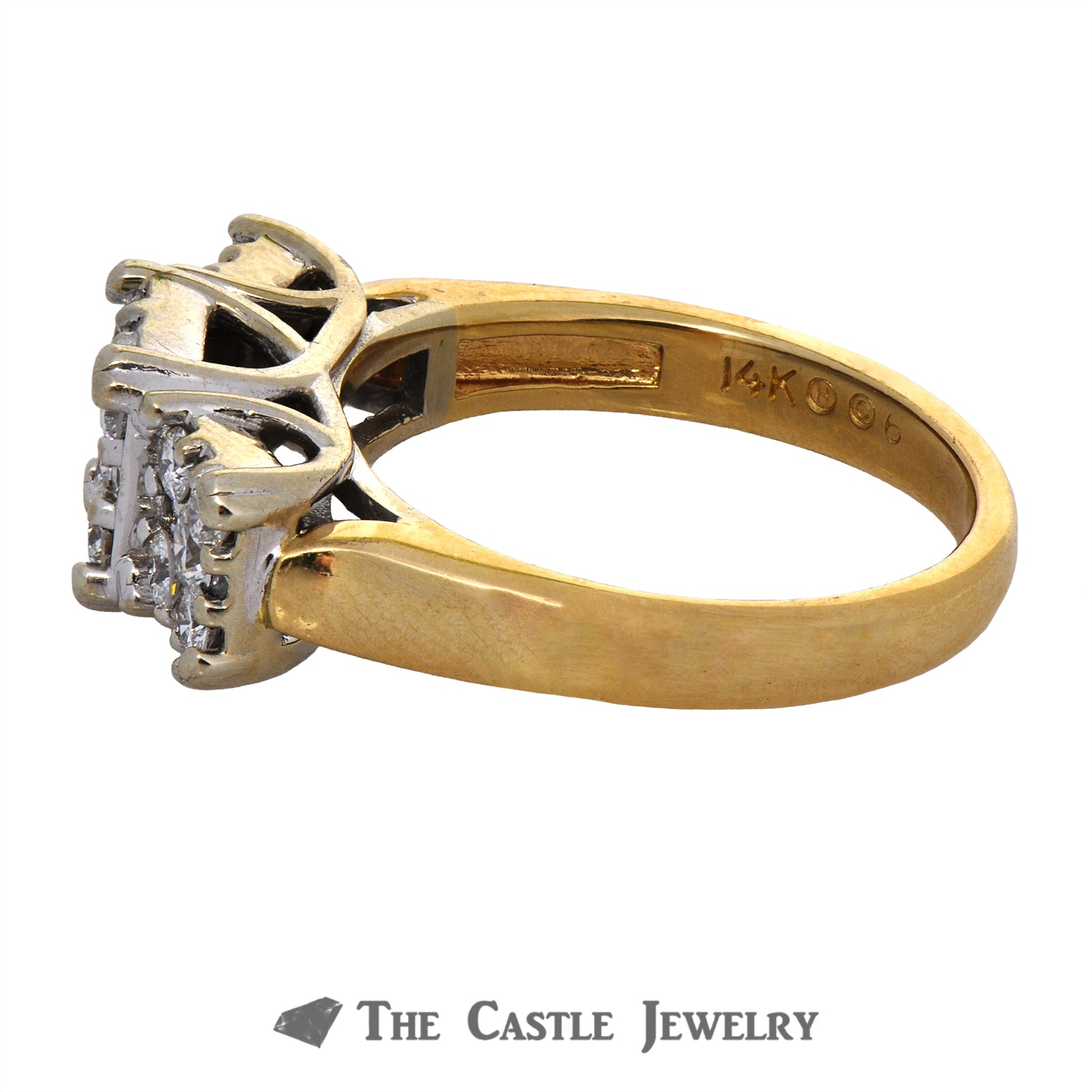 Square Cluster Engagement Ring 1cttw in 14K Yellow Gold-2