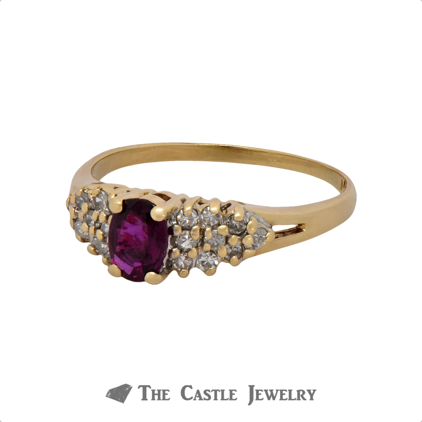 Rhodolite Garnet Ring with .18cttw Diamond Cluster Accents in 14k Yellow Gold