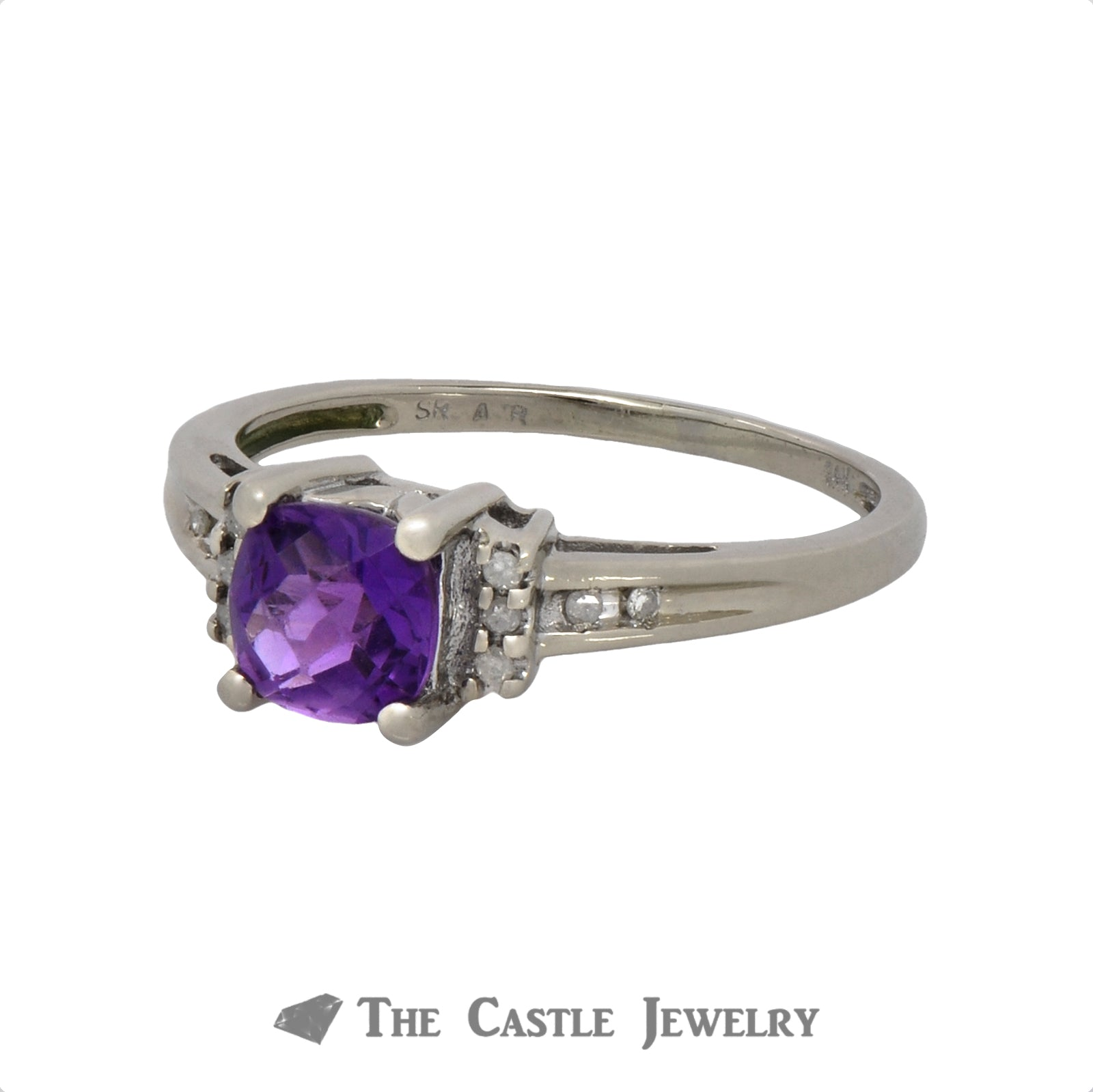 Fantasy Cut Amethyst Ring with Diamond Accents in 10K White Gold-2