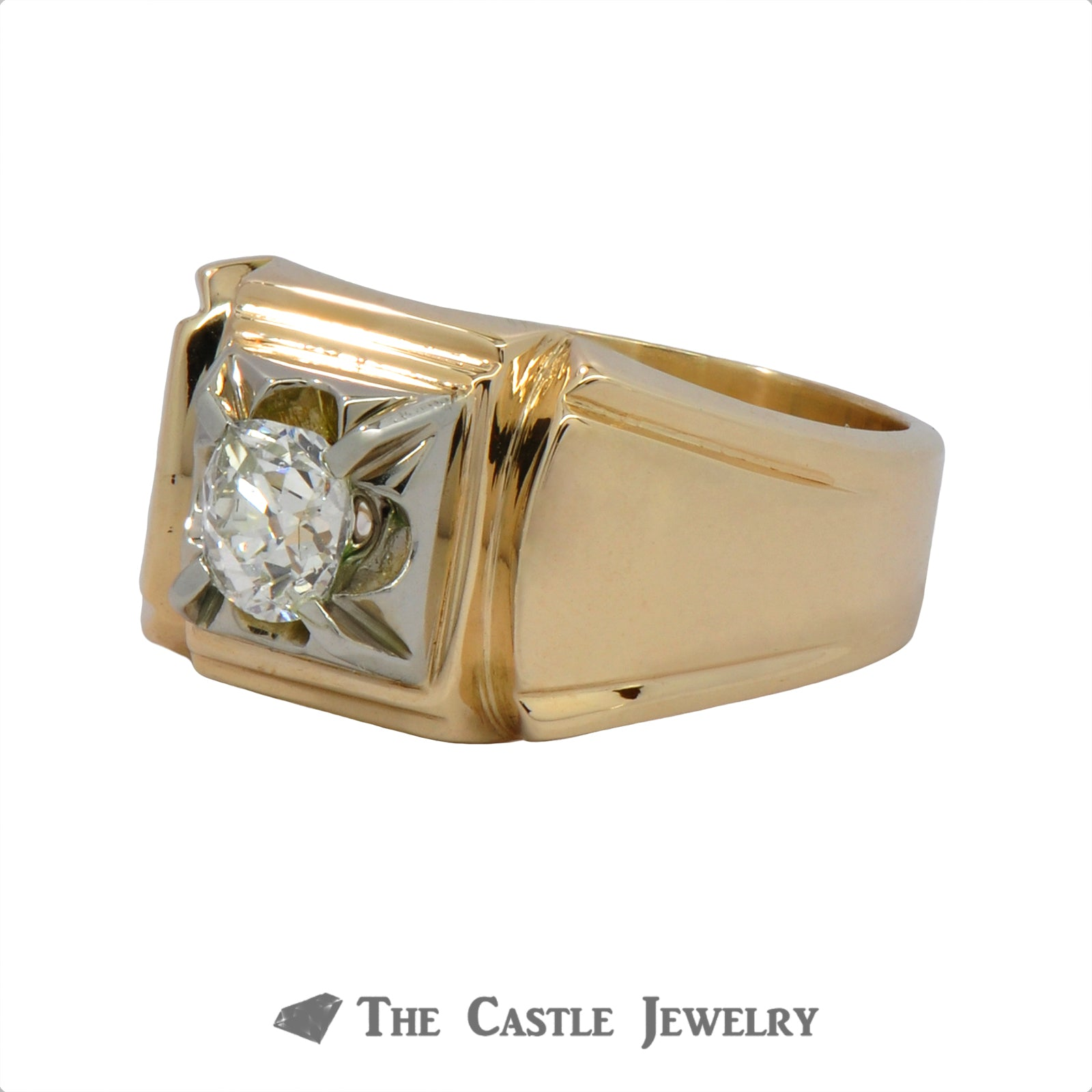 .50 Carat Old Mine Cut Gent's Diamond Ring In 14k Yellow Gold-2