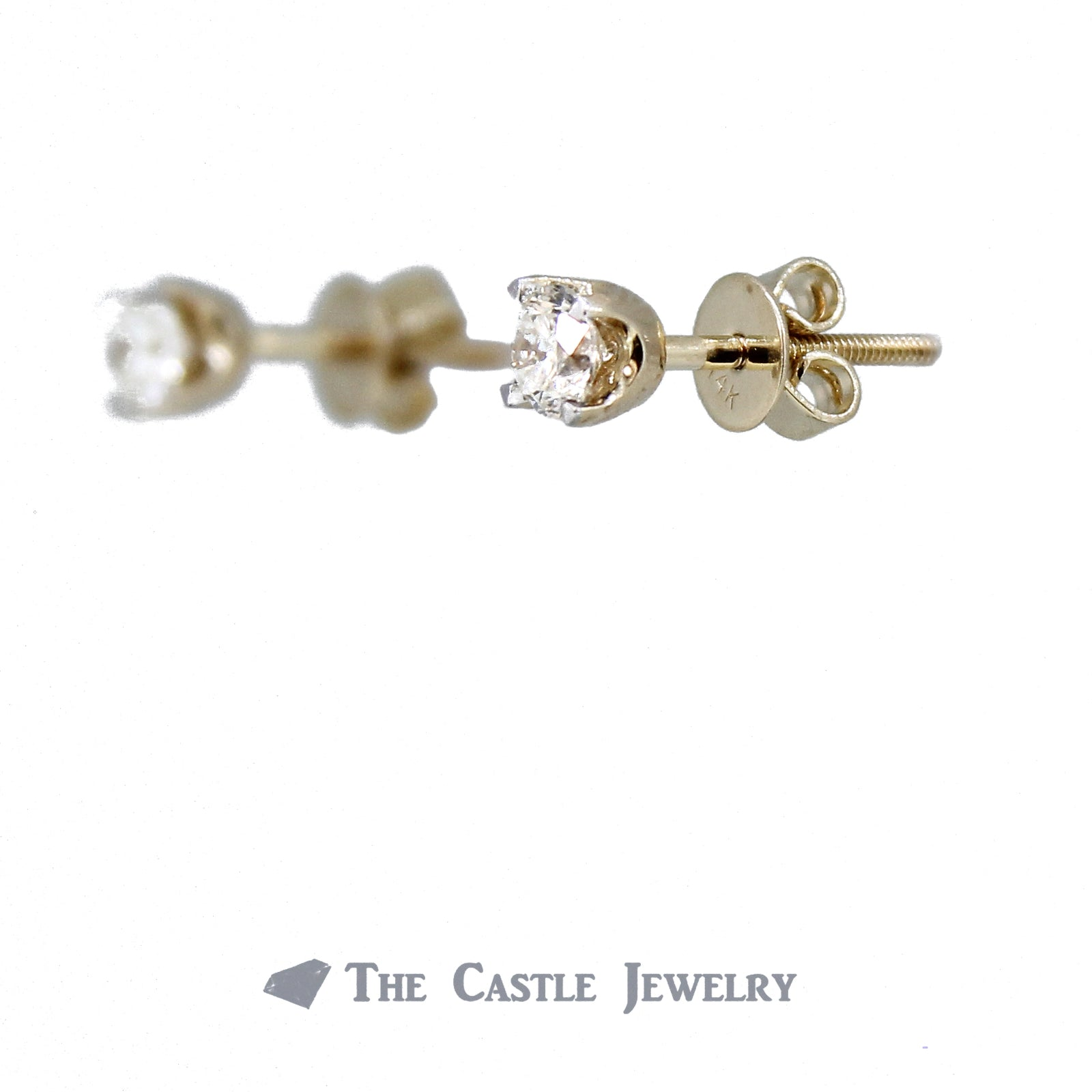 Diamond Stud Earrings 1/2cttw with Screw Backs in 14K Yellow Gold-1