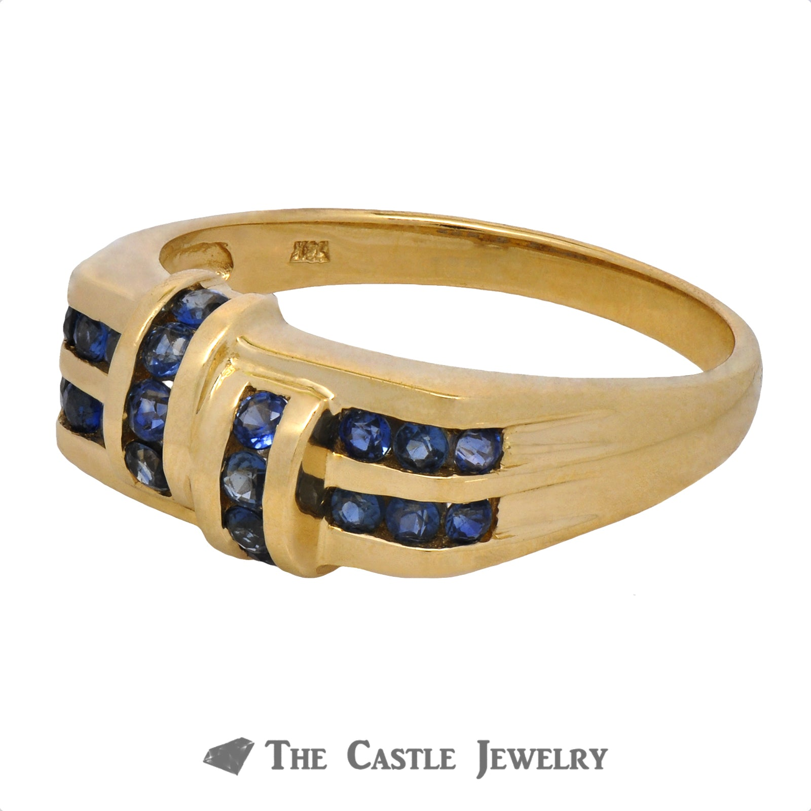 Unique Yellow Gold Ring with Rows of Sapphires-2