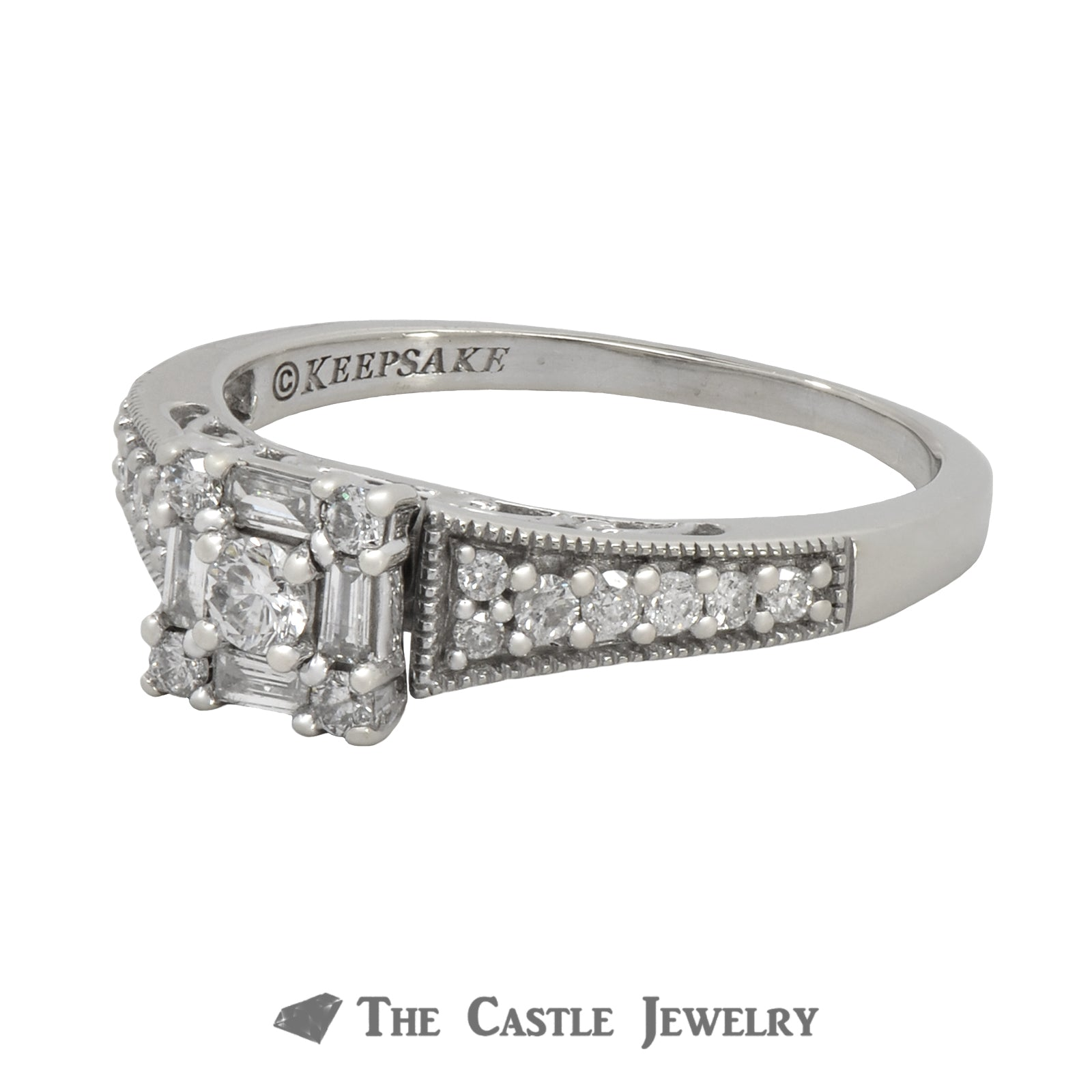Square Shaped Diamond Engagement Ring .50cttw In 14K White Gold-2
