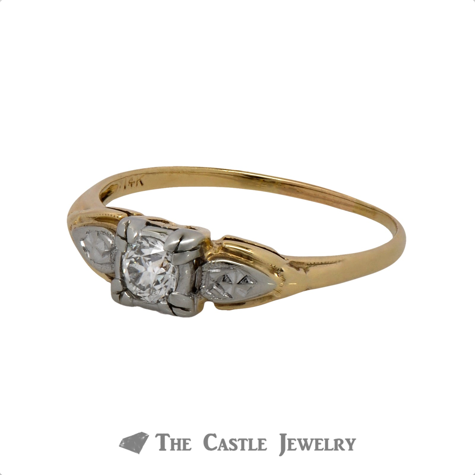 .30ct Old European Cut Diamond Solitaire Engagement Ring in 14k Two-Tone Gold-2