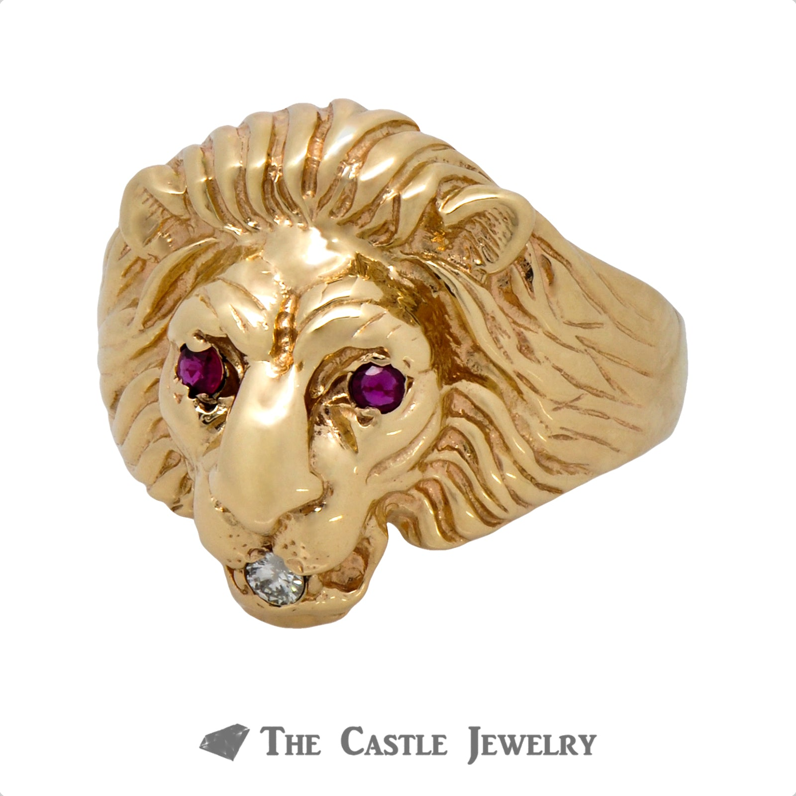 Men's Ruby & Diamond Lion Head Ring in 14k Yellow Gold-2