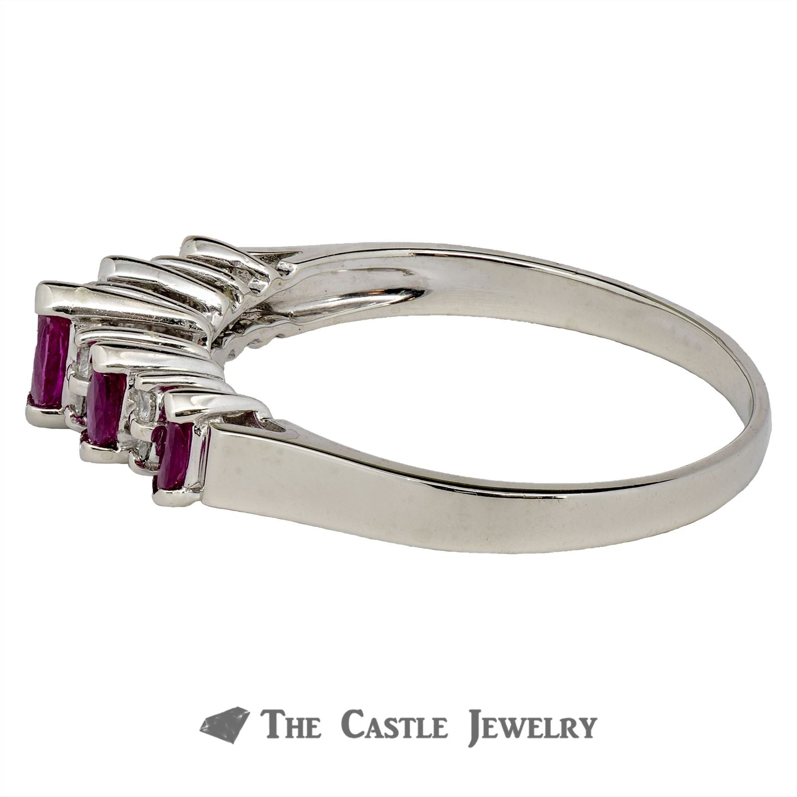 Ruby and Diamond Anniversary Ring in 14K White Gold-2
