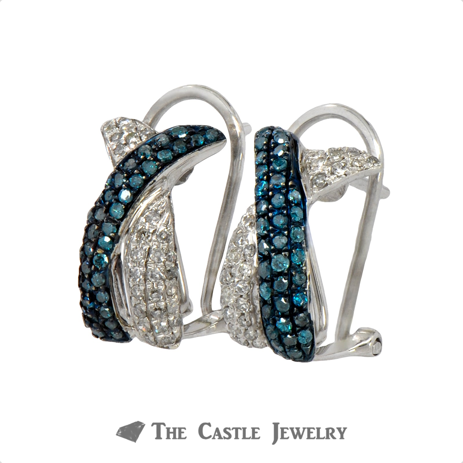 Interweaving Blue and White Pave Diamond Earrings in 10k White Gold-1