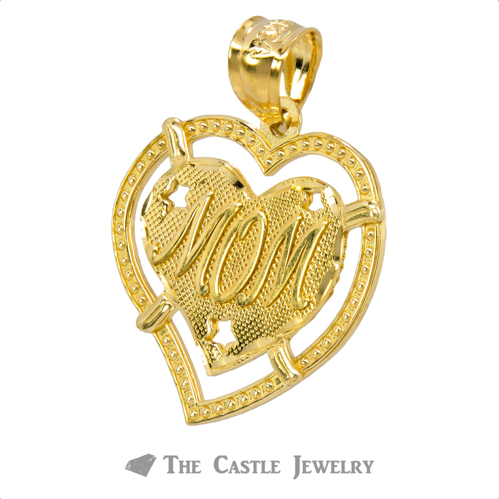"Heart ""Mom"" Pendant Crafted in 14K Yellow Gold-1"