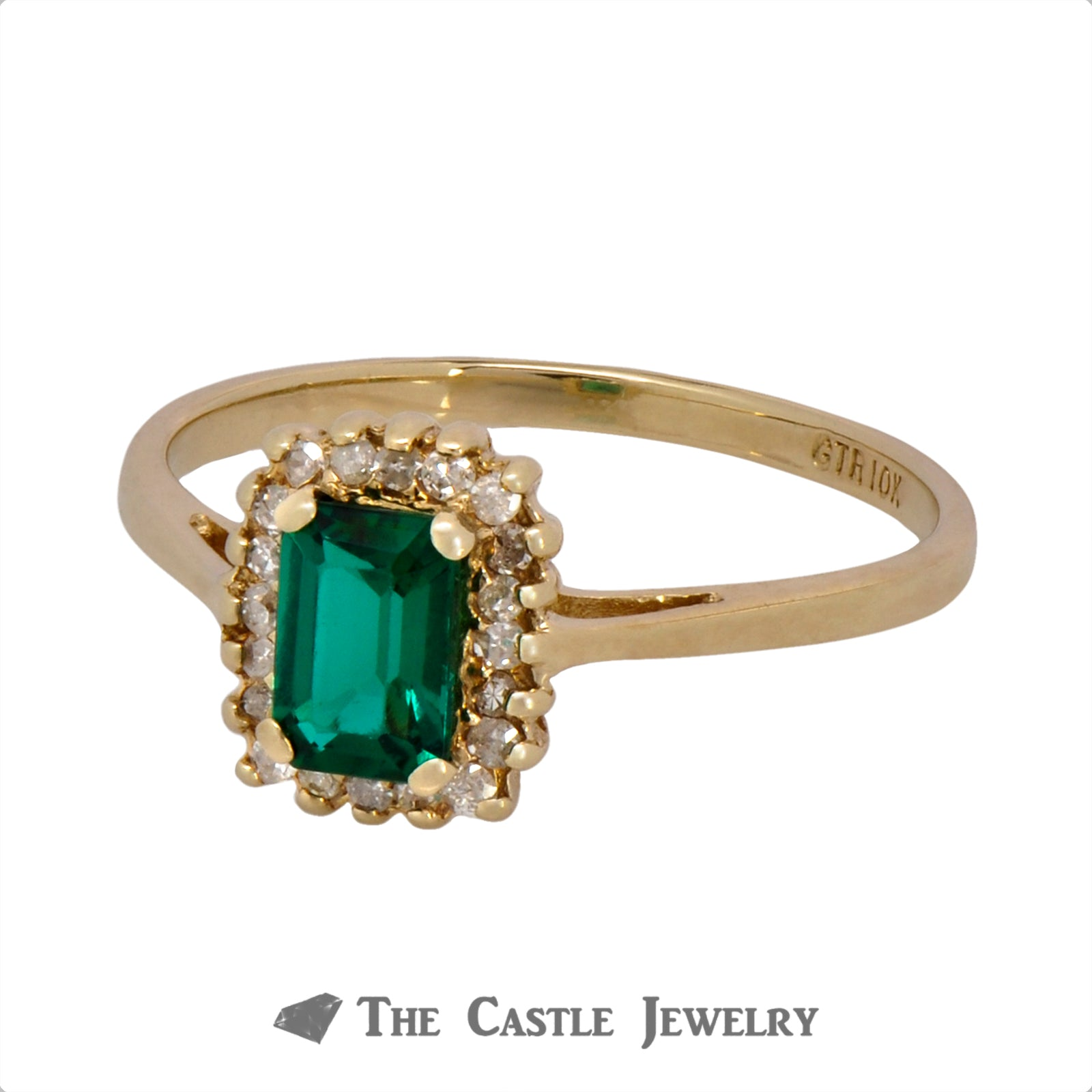 Emerald Ring with Round Brilliant Cut Diamond Halo Crafted in 10k Yellow Gold-2