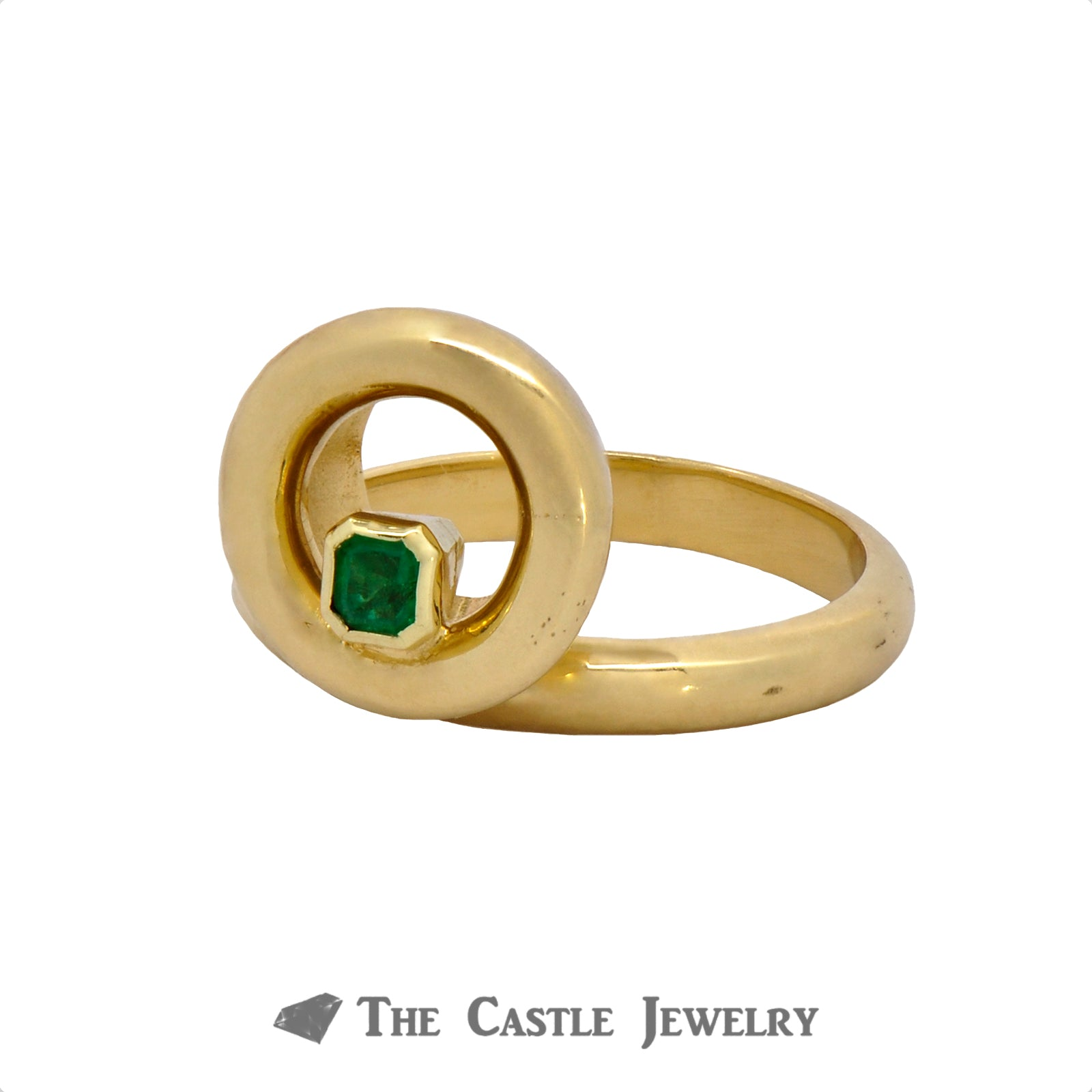 Unique Circle Designed Ring with Emerald Cut Emerald Crafted in 18k Yellow Gold-2