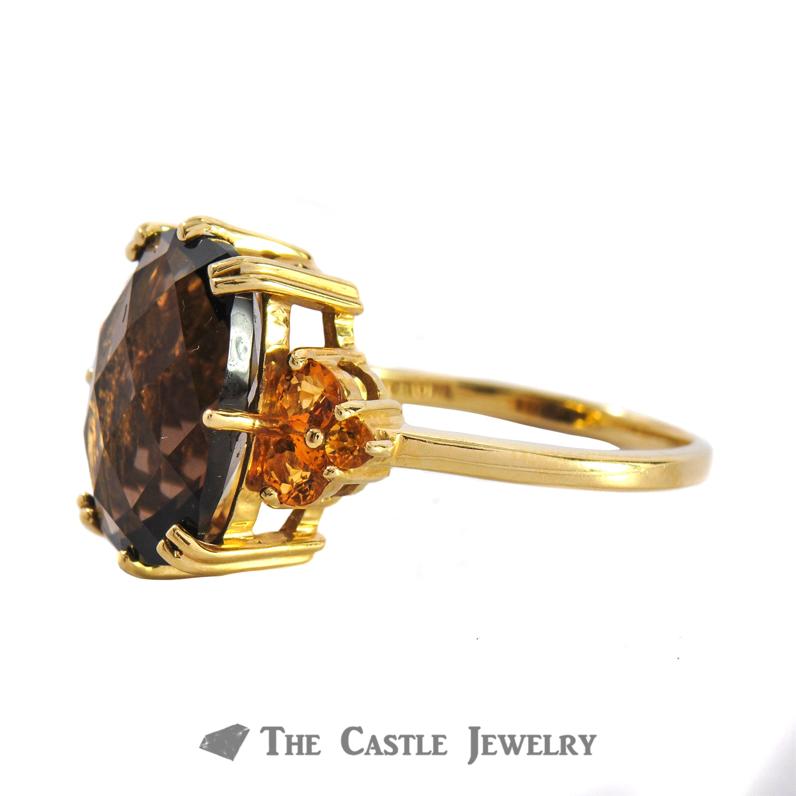 Fantasy Cut Smoky Quartz And Citrine Ring In 14K Yellow Gold-1