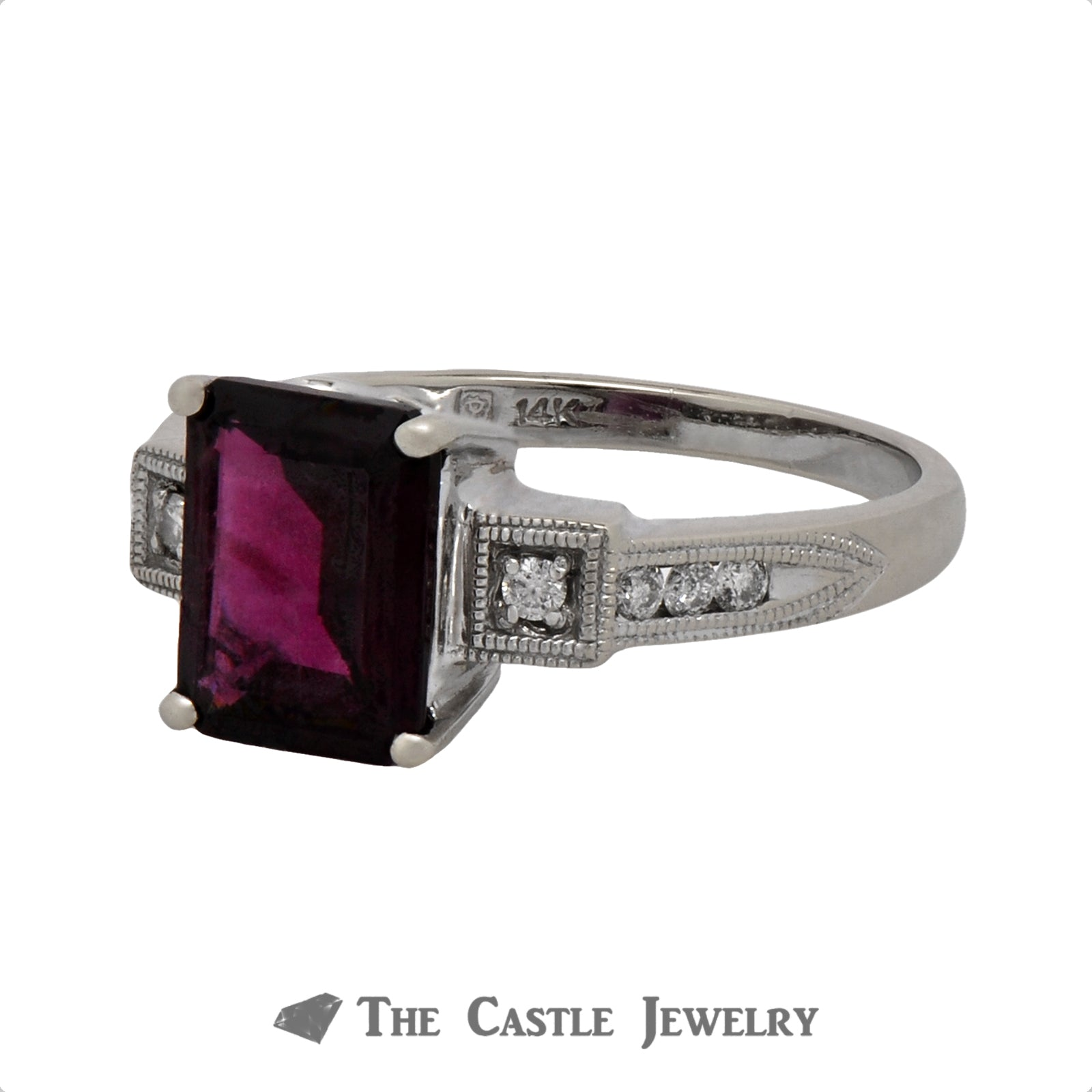 Emerald Cut Rhodolite Garnet Ring with .12cttw Diamond Accents in 14k White Gold-2