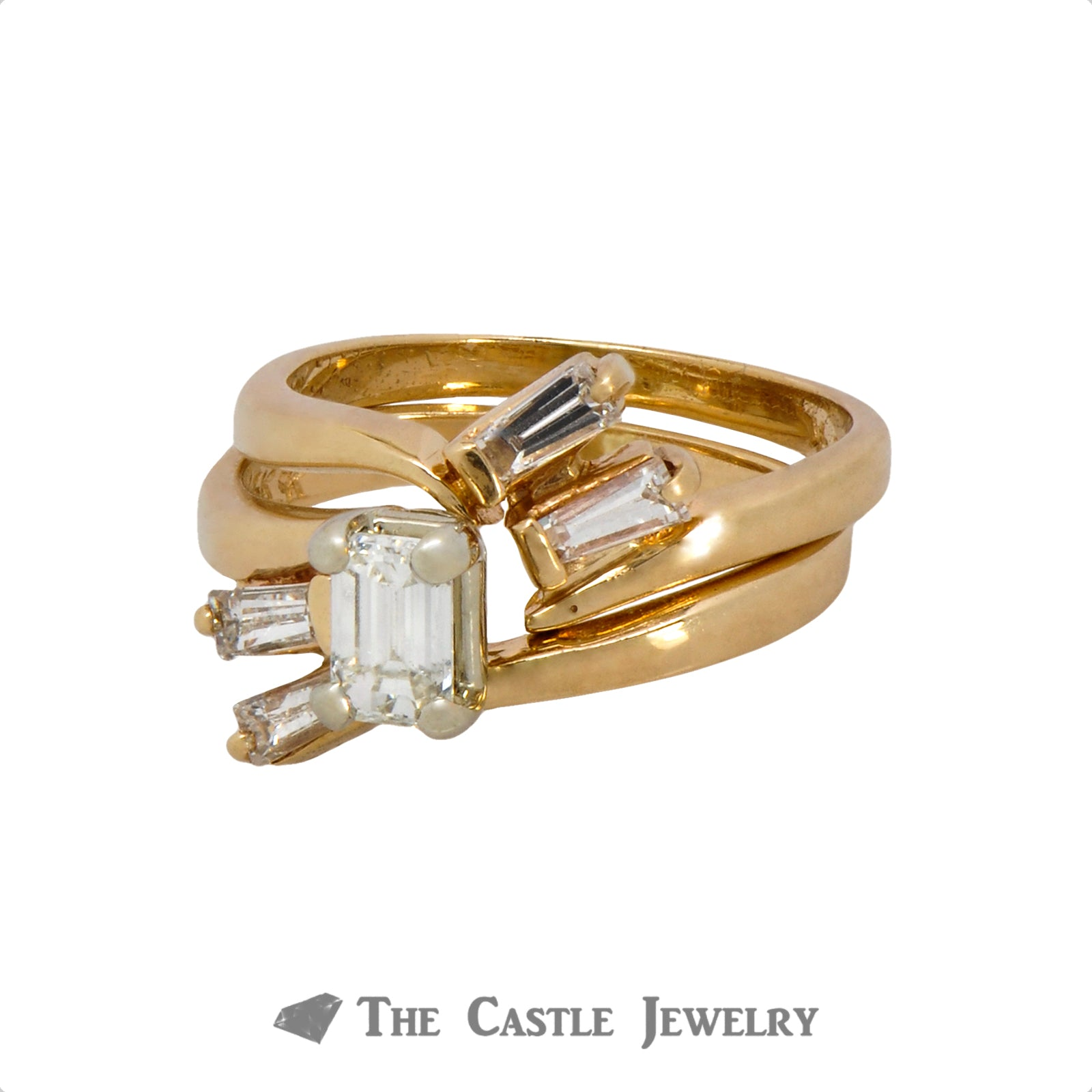 Emerald Cut Diamond Bridal Set with Baguette Diamond Accented Matching Band in 14k Yellow Gold-2