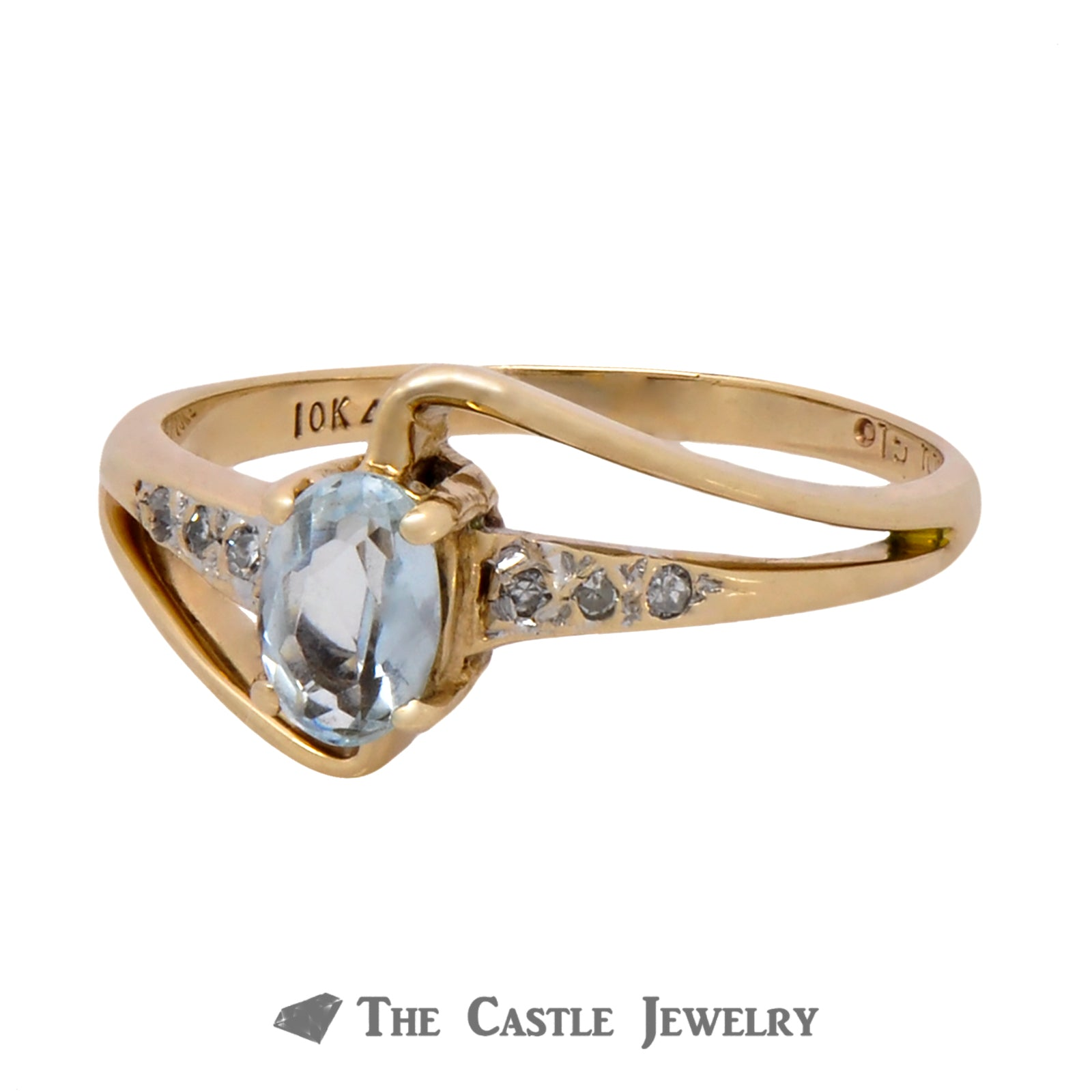 Oval Cut Aquamarine Ring with Diamond Accents in Curved Bypass Setting-2