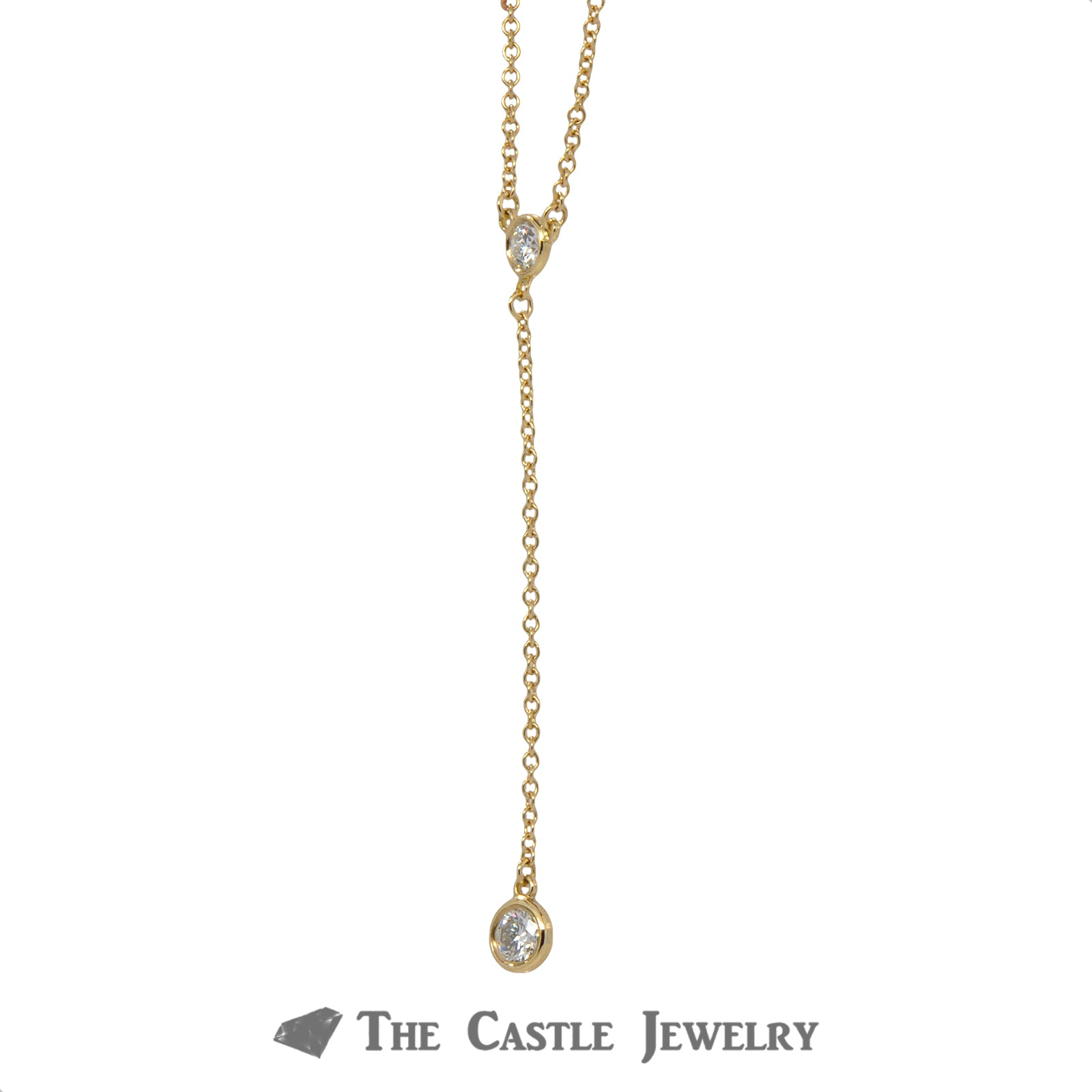 Tiffany & Co. Delicate Drop Necklace with .25cttw Diamonds in 18k Yellow Gold-2