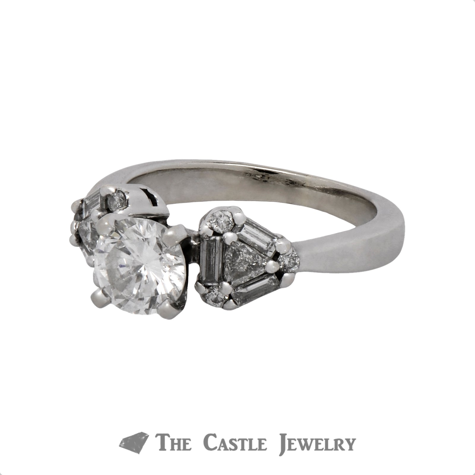 1.25cttw Diamond Engagement Ring with Baguette, Trillion and Round Cut Accents in 14k White Gold-2
