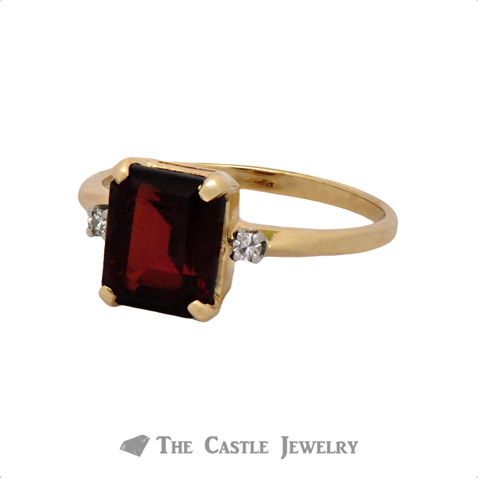 Emerald Cut Garnet Ring with Diamond Accents in 14K Gold-2