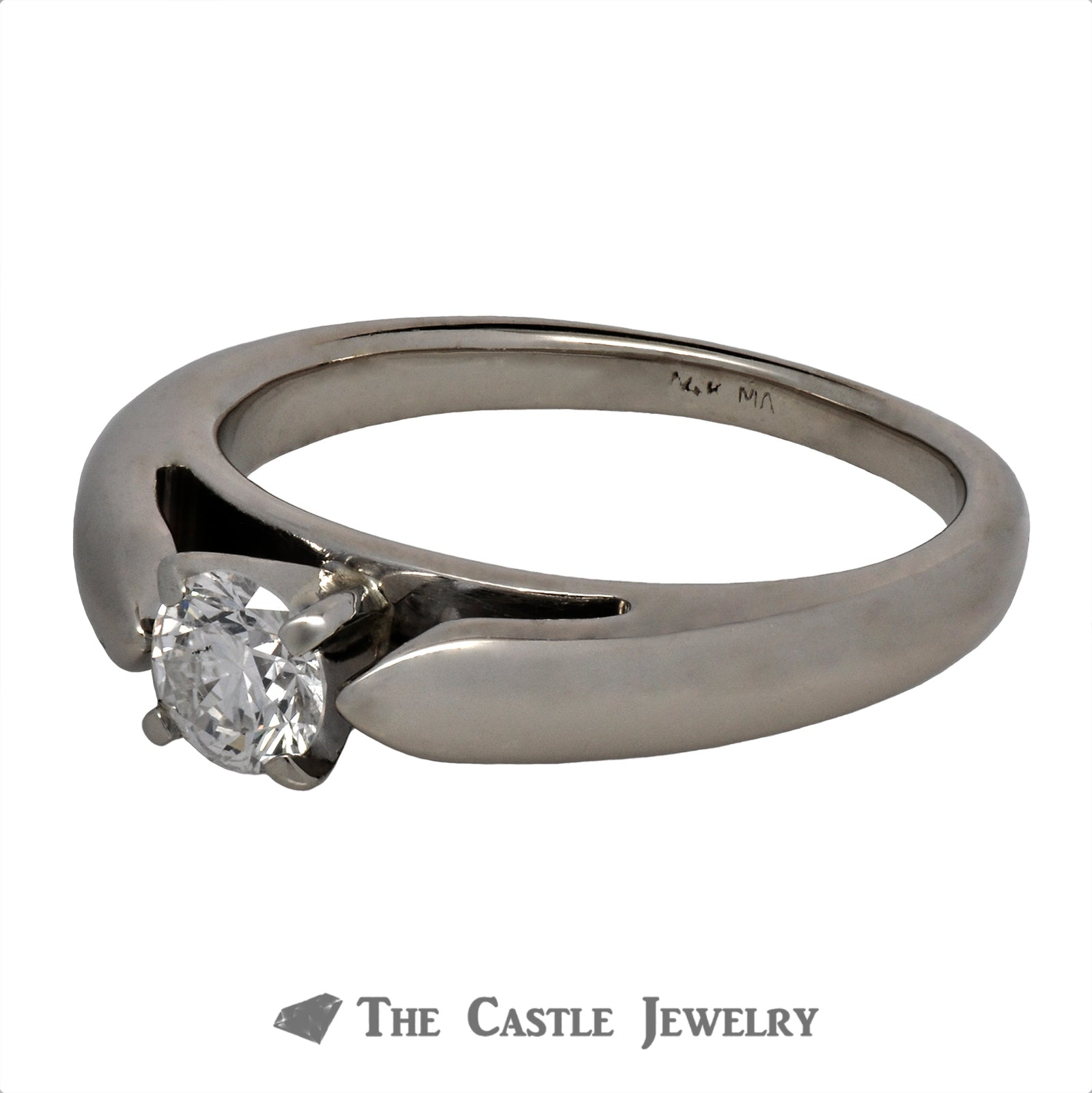 Round Brilliant Cut Solitaire Engagement Ring in Cathedral Mounting-1