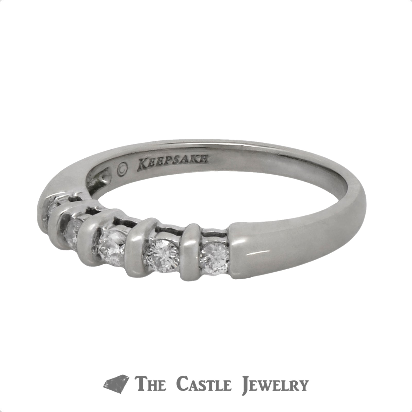 .20cttw Five Diamond Wedding Band in 14k White Gold-2