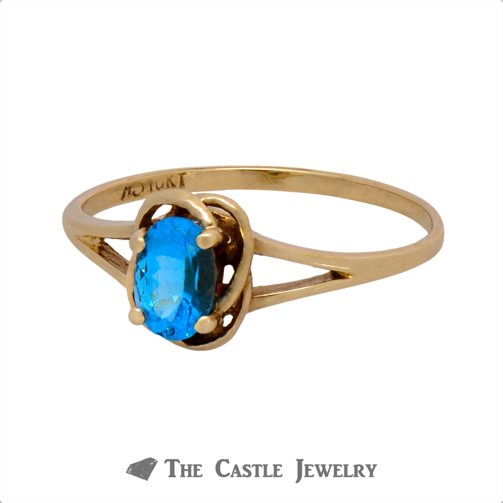 Oval Cut Blue Topaz Ring with Knot Designed Split Shank Mounting-2