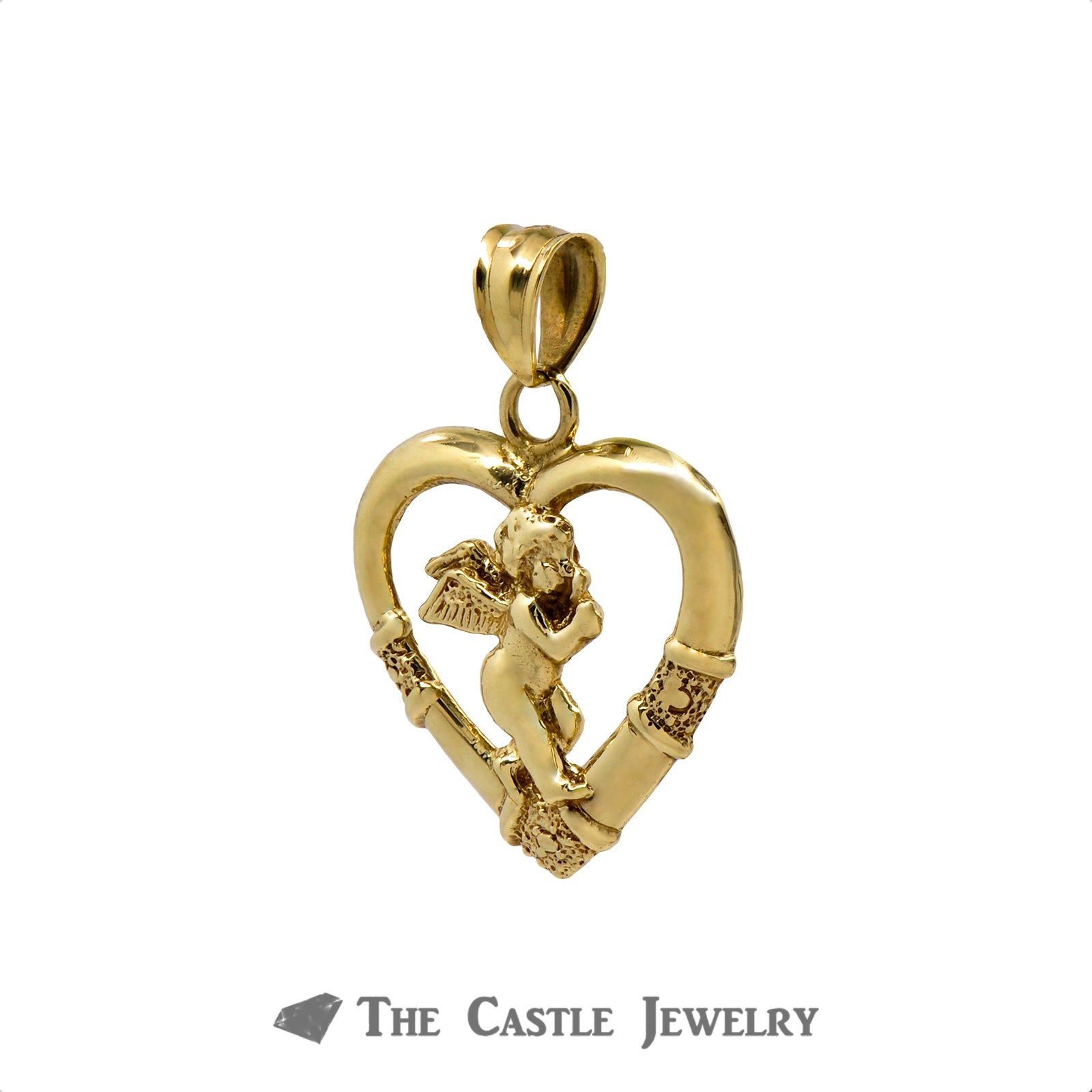 10k Yellow Gold Angel Crafted Inside Heart Pendant-1