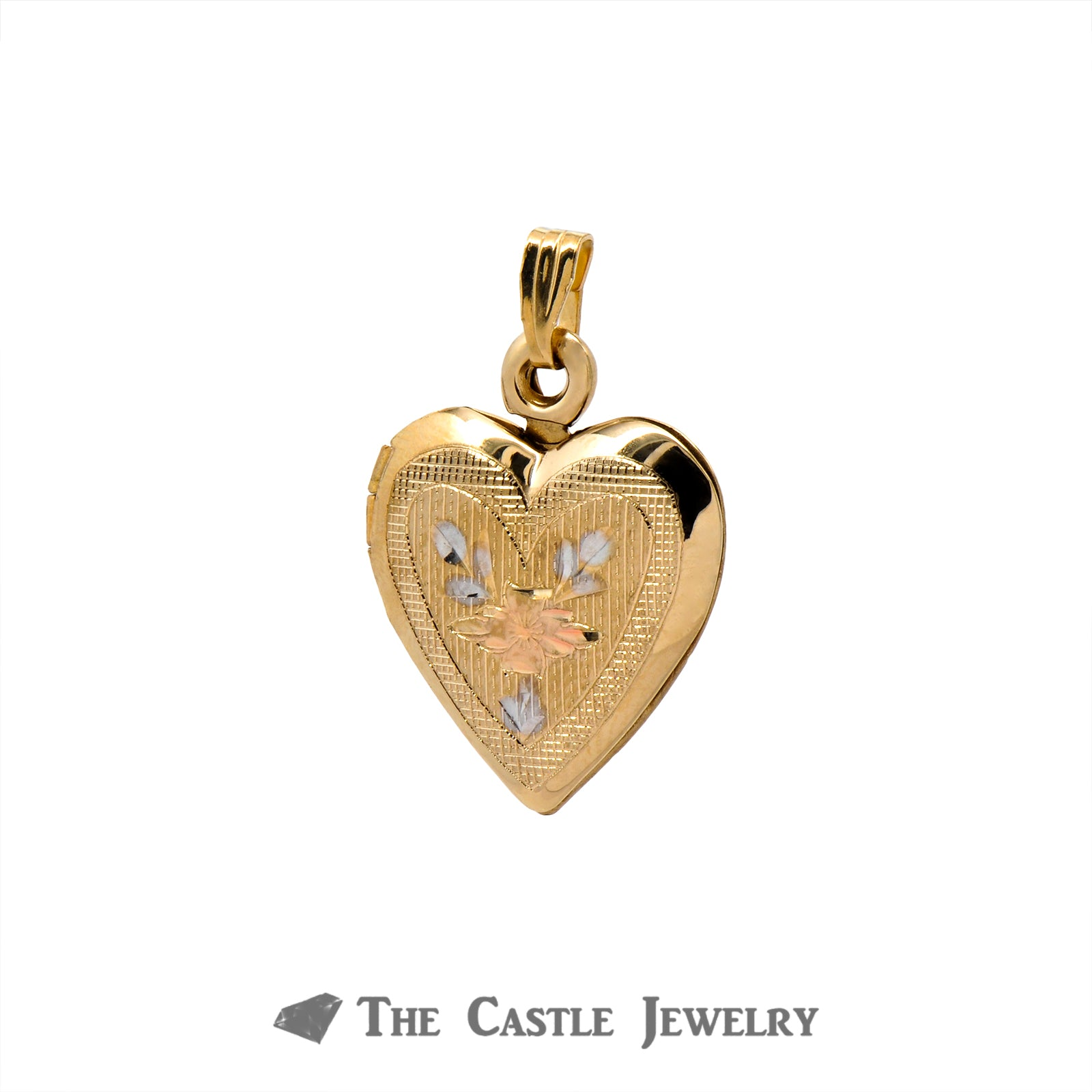 14k Yellow Gold Heart Locket Pendant with Floral Design-2