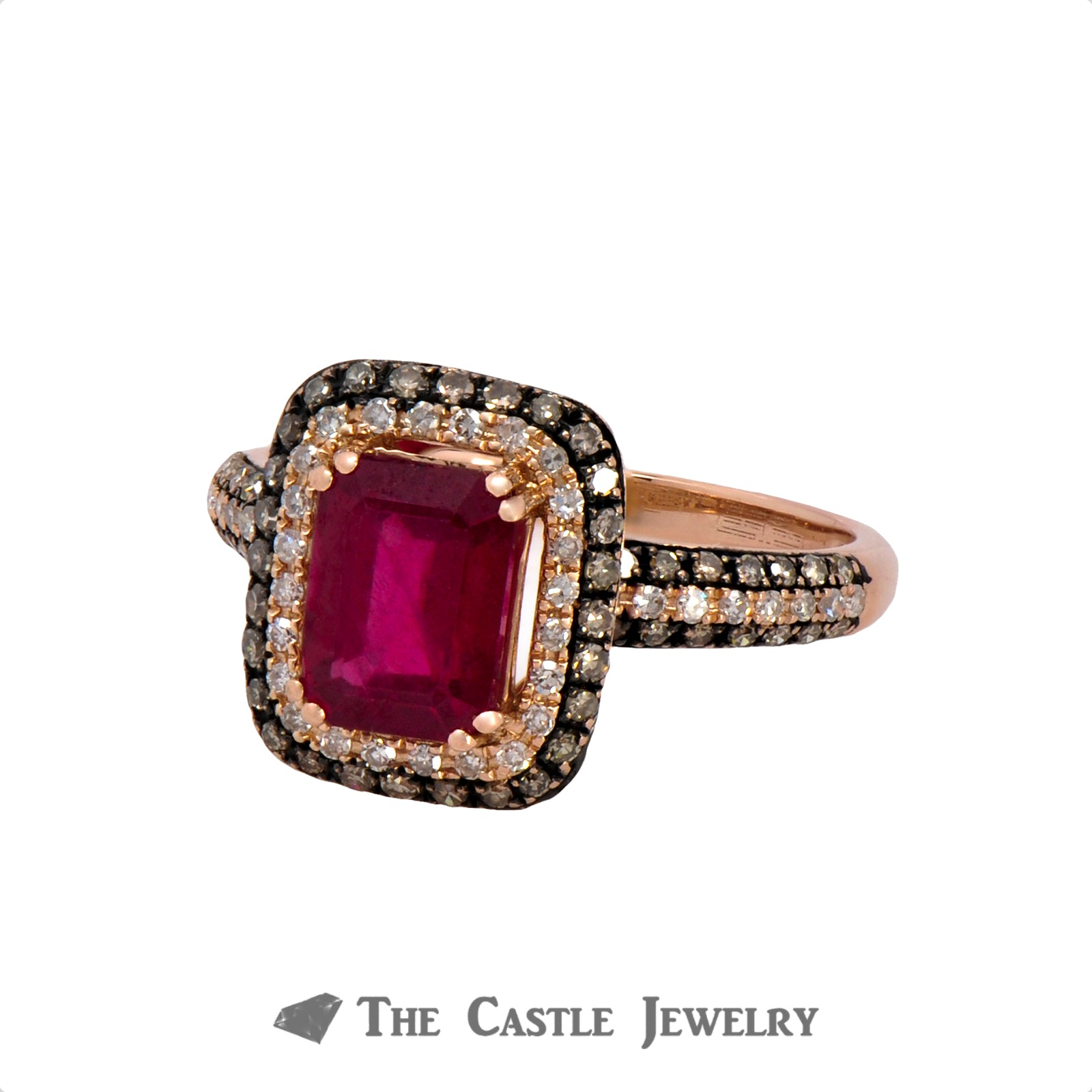 Effy Emerald Cut Ruby Ring with White and Chocolate Diamonds in 14k Rose Gold-2