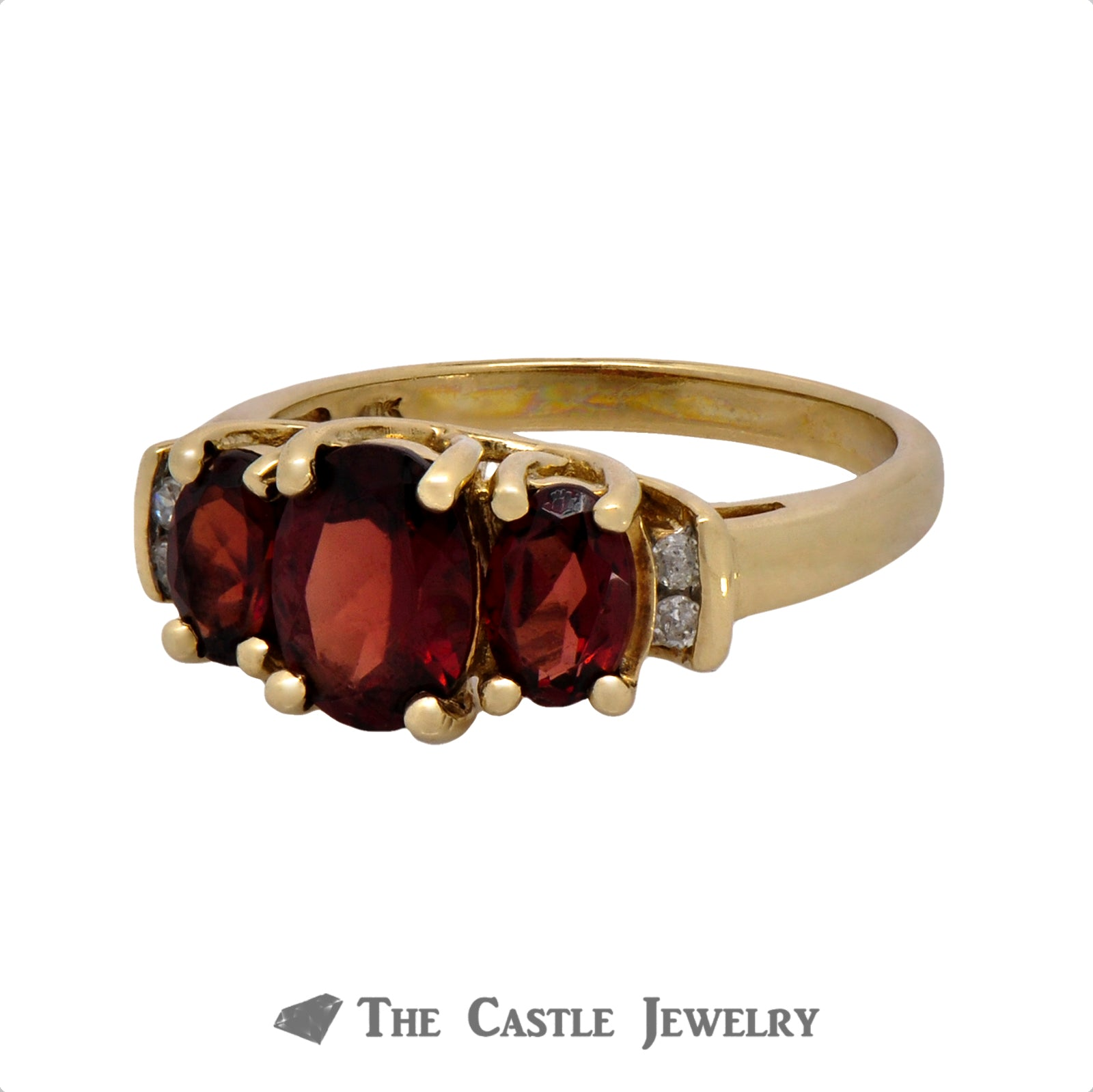 Triple Oval Garnet Ring with Diamond Accents in 10k Yellow Gold-2