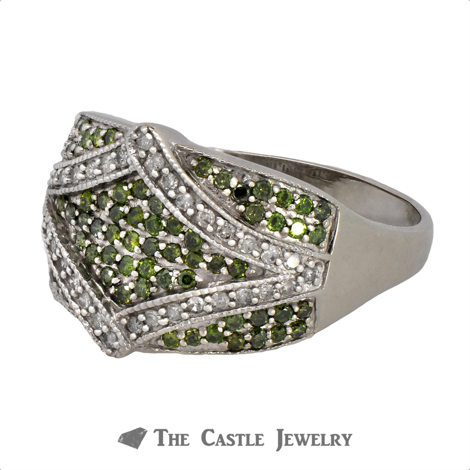 Green & White Diamond Cluster Ring With Fancy Rectangle Shaped Design-2
