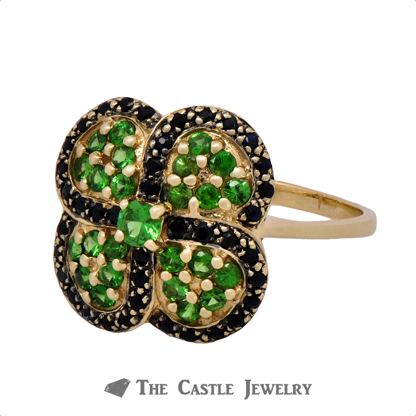 Sapphire and Tsavorite Garnet Clover Cluster Ring in 10k Yellow Gold-2
