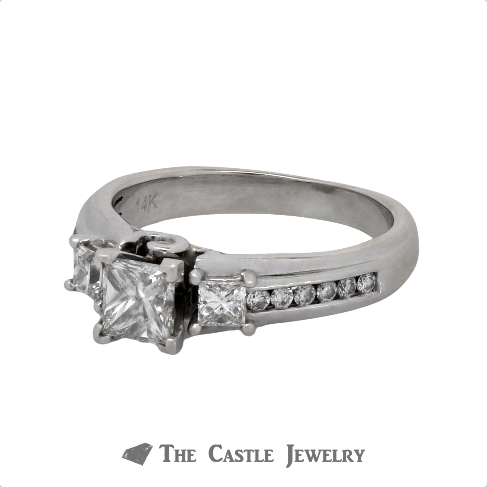 Princess Cut Three Stone Diamond Engagement Ring with Accents in a Cathedral Mounting-2