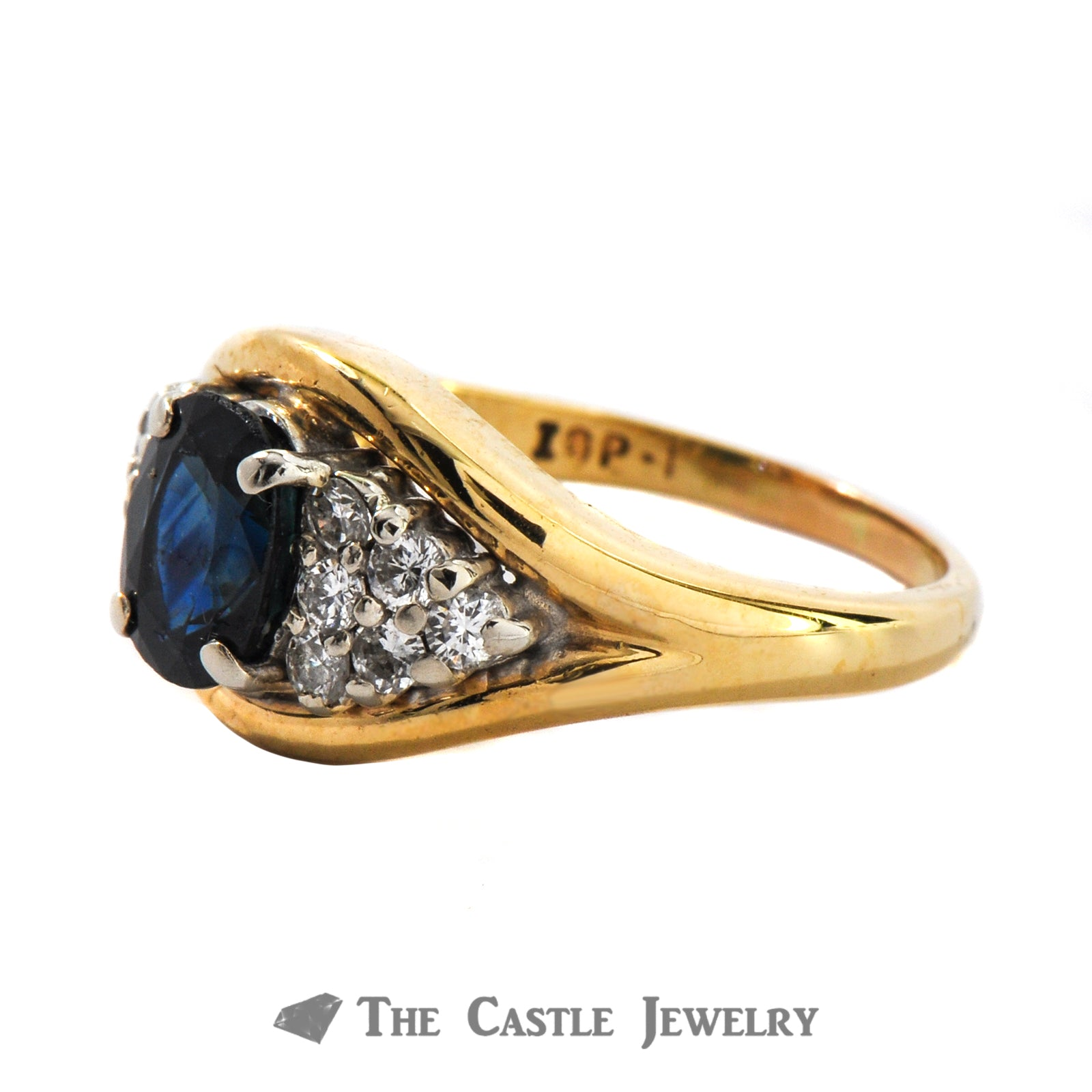 Oval Cut Genuine Blue Sapphire And Diamond Ring in 10K Yellow Gold-1