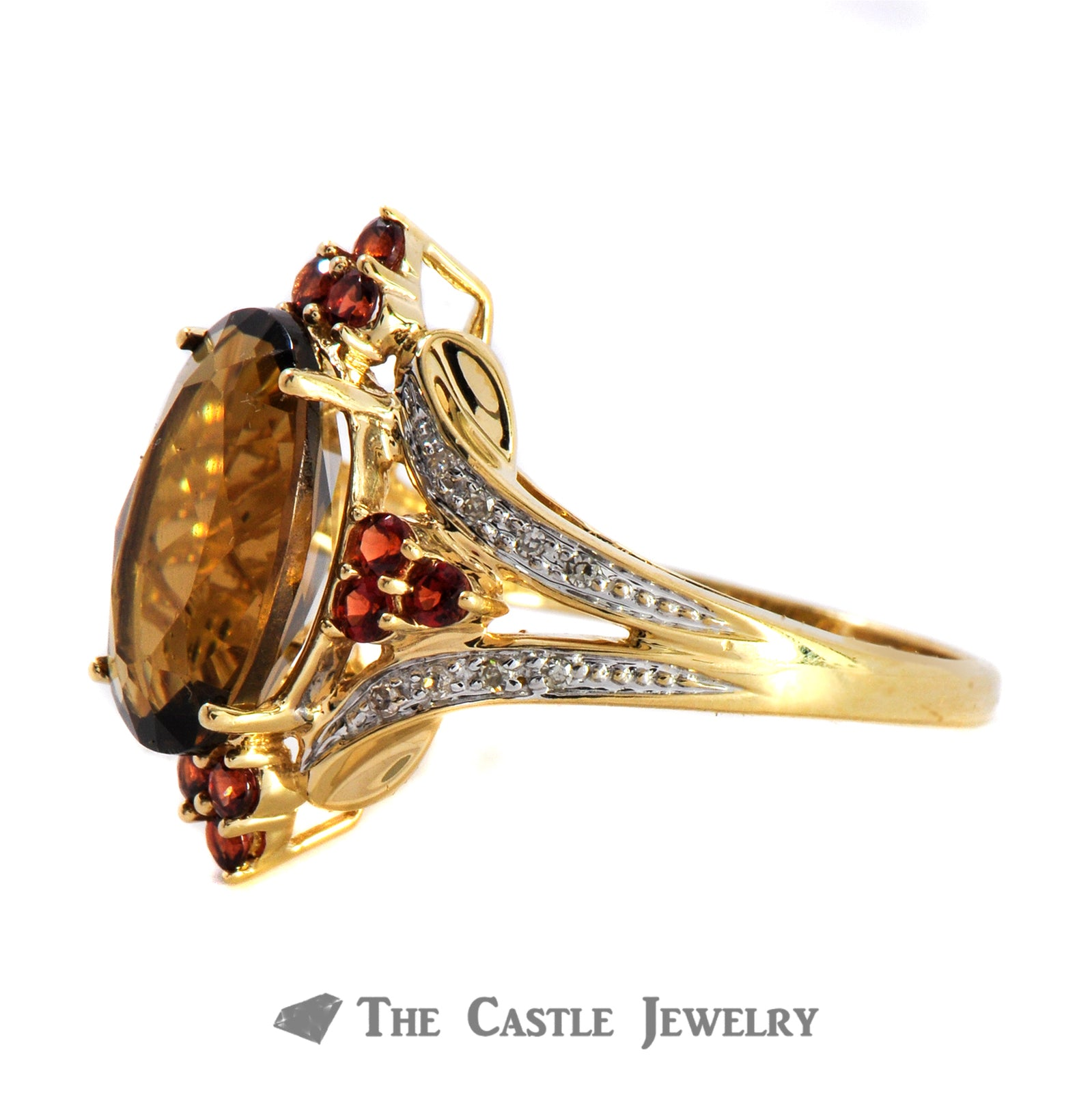Smoky Topaz, Garnet And .08cttw Diamond Ring In 10K Yellow Gold-1