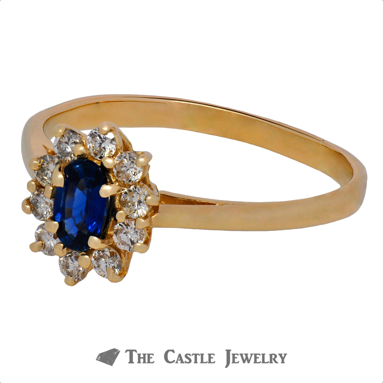 Oval Cut Sapphire Ring with Round Diamond Halo-2