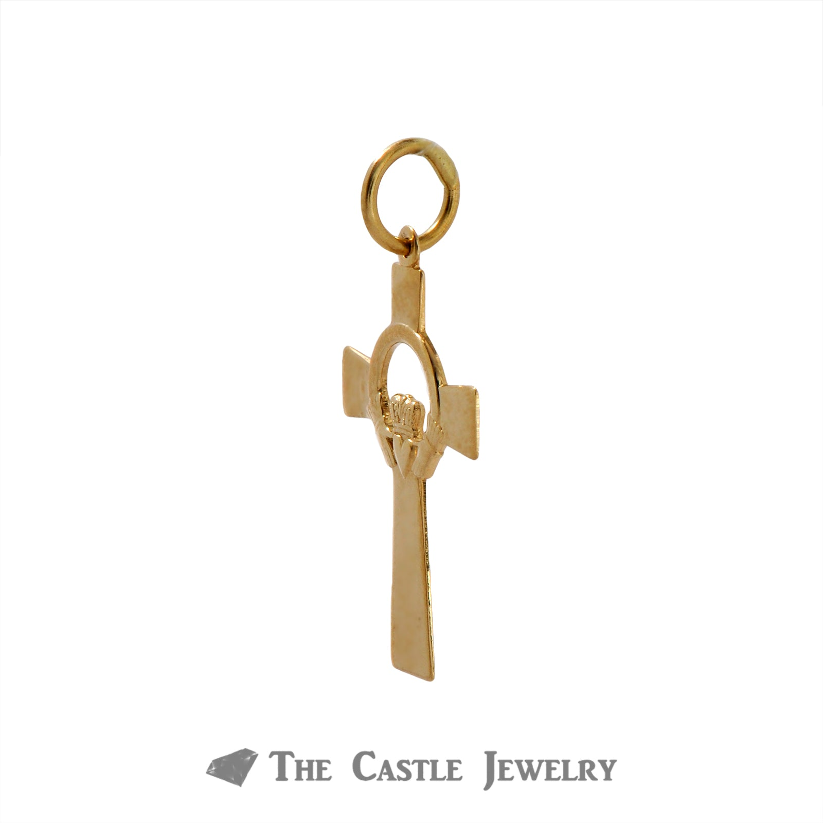 Claddagh Cross Pendant Crafted in 14k Yellow Gold-1