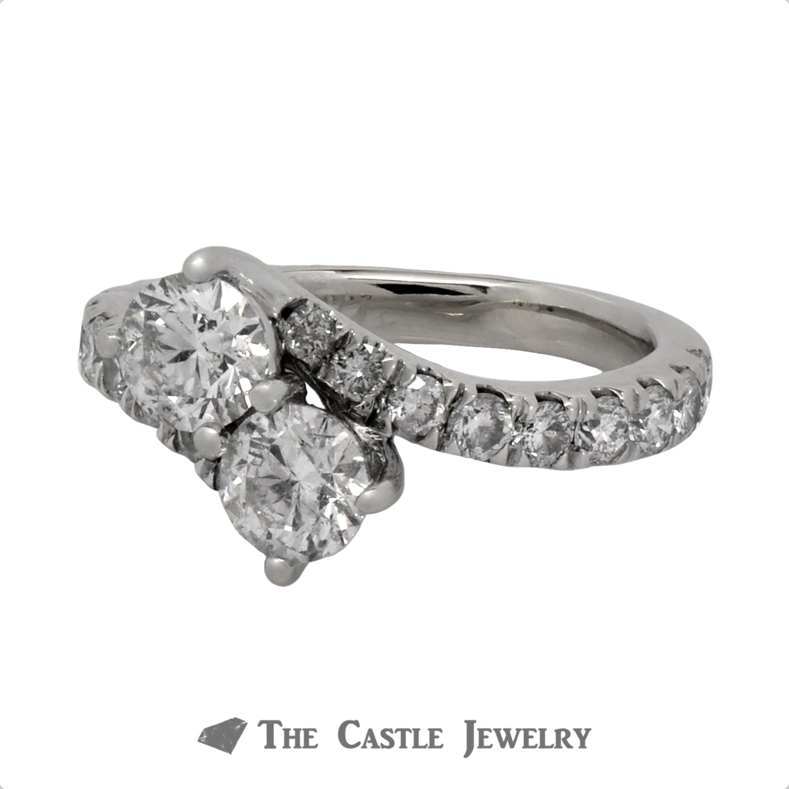 2cttw Ever Us Designer Engagement Ring in 14k White Gold Bypass Setting-2