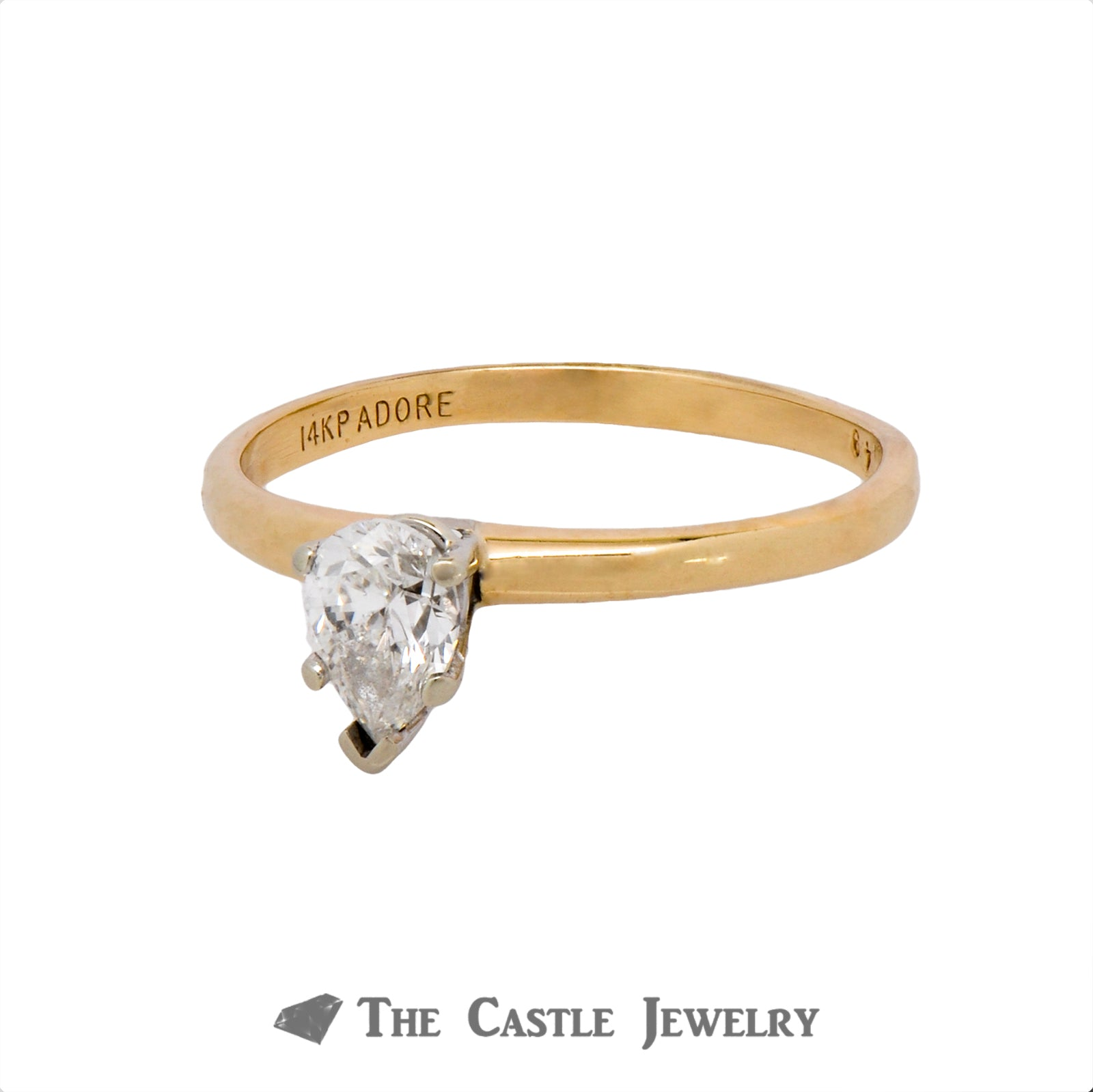 Lovely .49ct Pear Shaped Solitaire Diamond Engagement Ring Crafted in 14K Yellow Gold-2