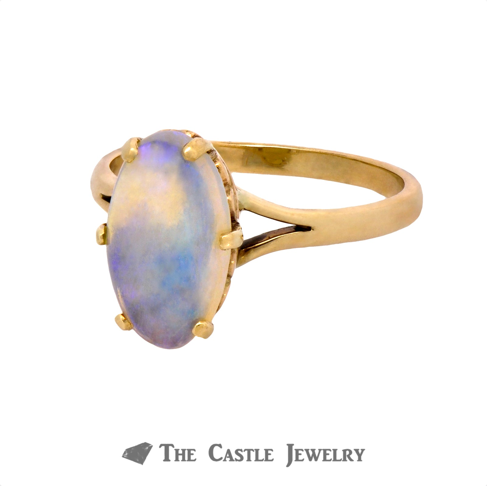 Oval Jelly Opal Ring in Six Prong Mounting Crafted in 10K Yellow Gold-2