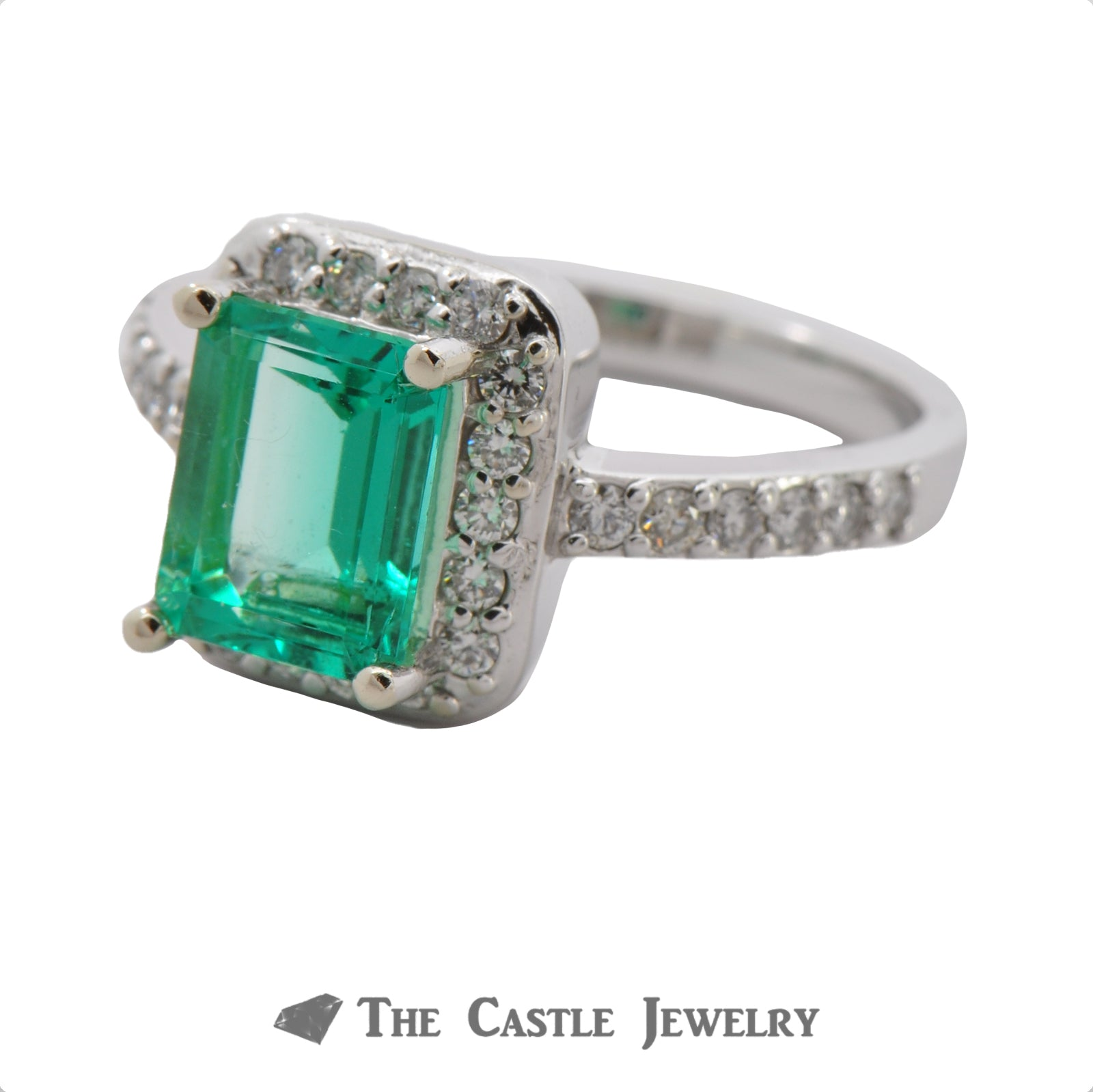 Stunning Emerald Cut Emerald with a Diamond Halo in 14K White Gold-2