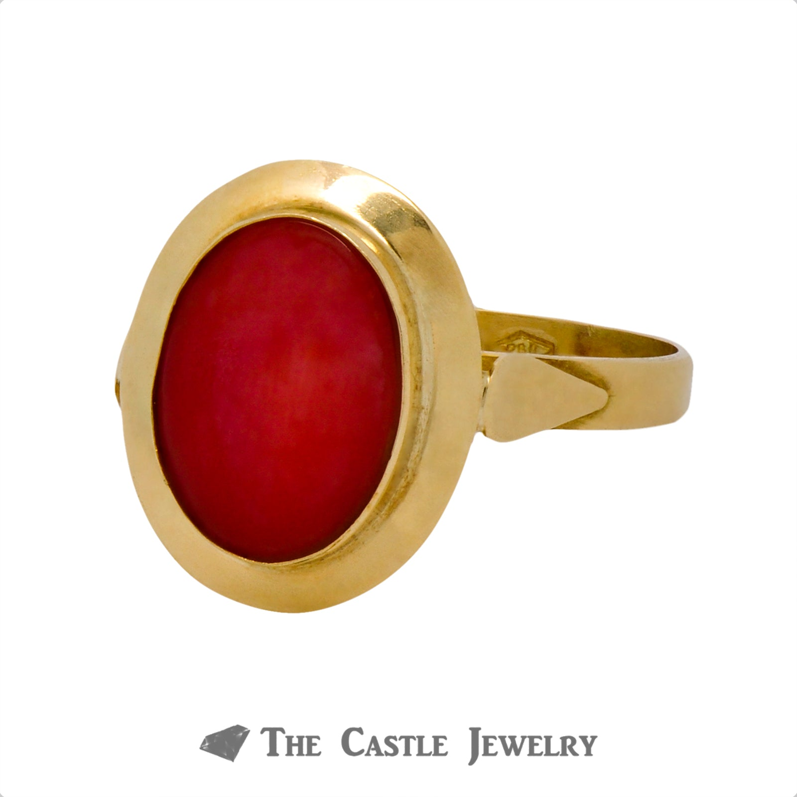 Oval Cut Coral Ring with Polished Bezel in 18k Yellow Gold-2