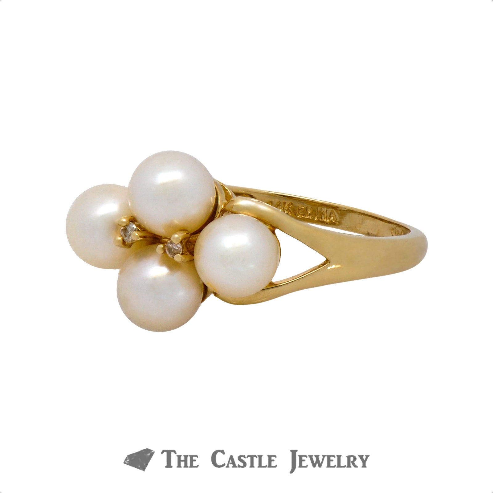 Quadruple 5.5mm Pearl Ring with Diamond Accents Crafted in 14k Yellow Gold
