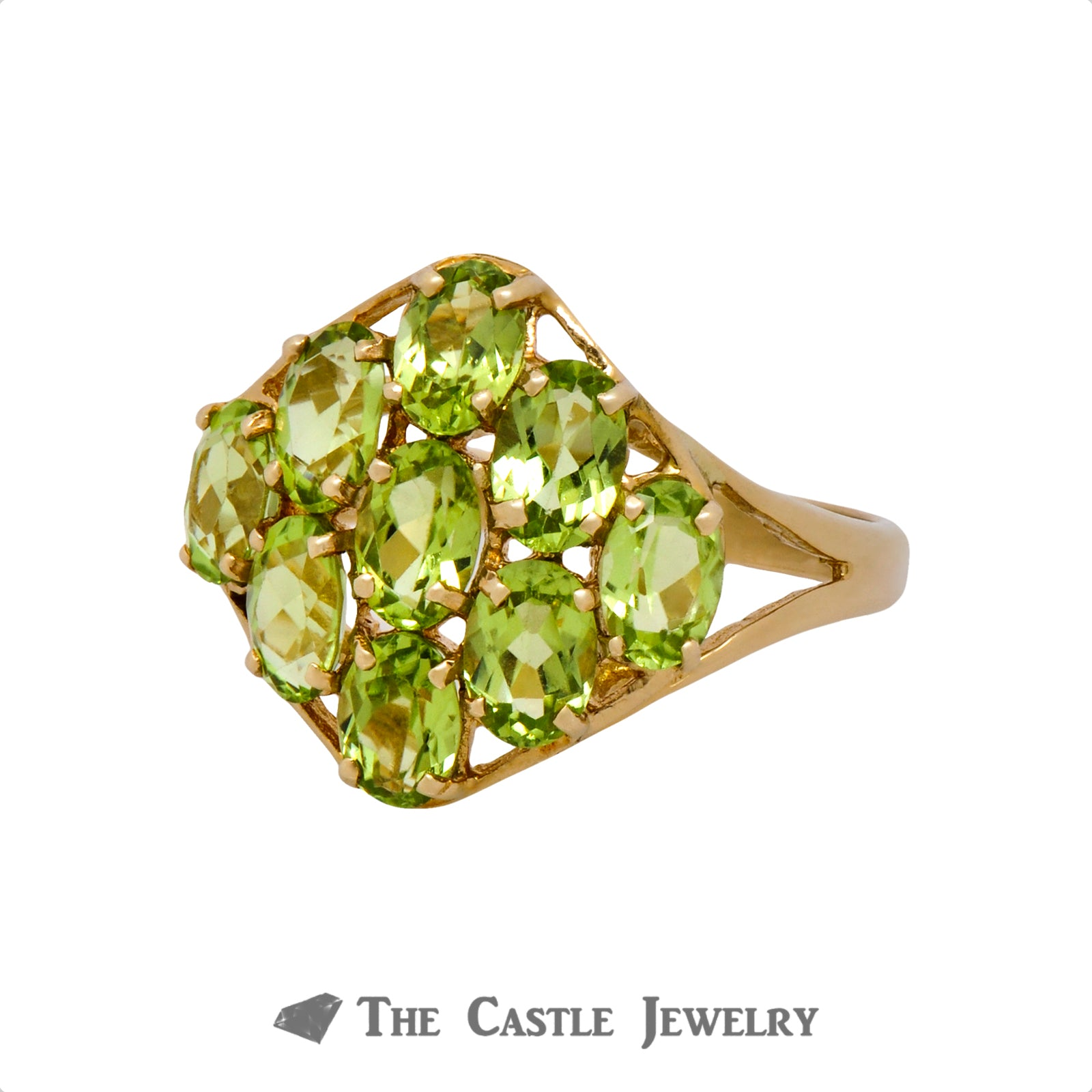 Oval Cut Peridot Cluster Ring Crafted in 10k Yellow Gold-2